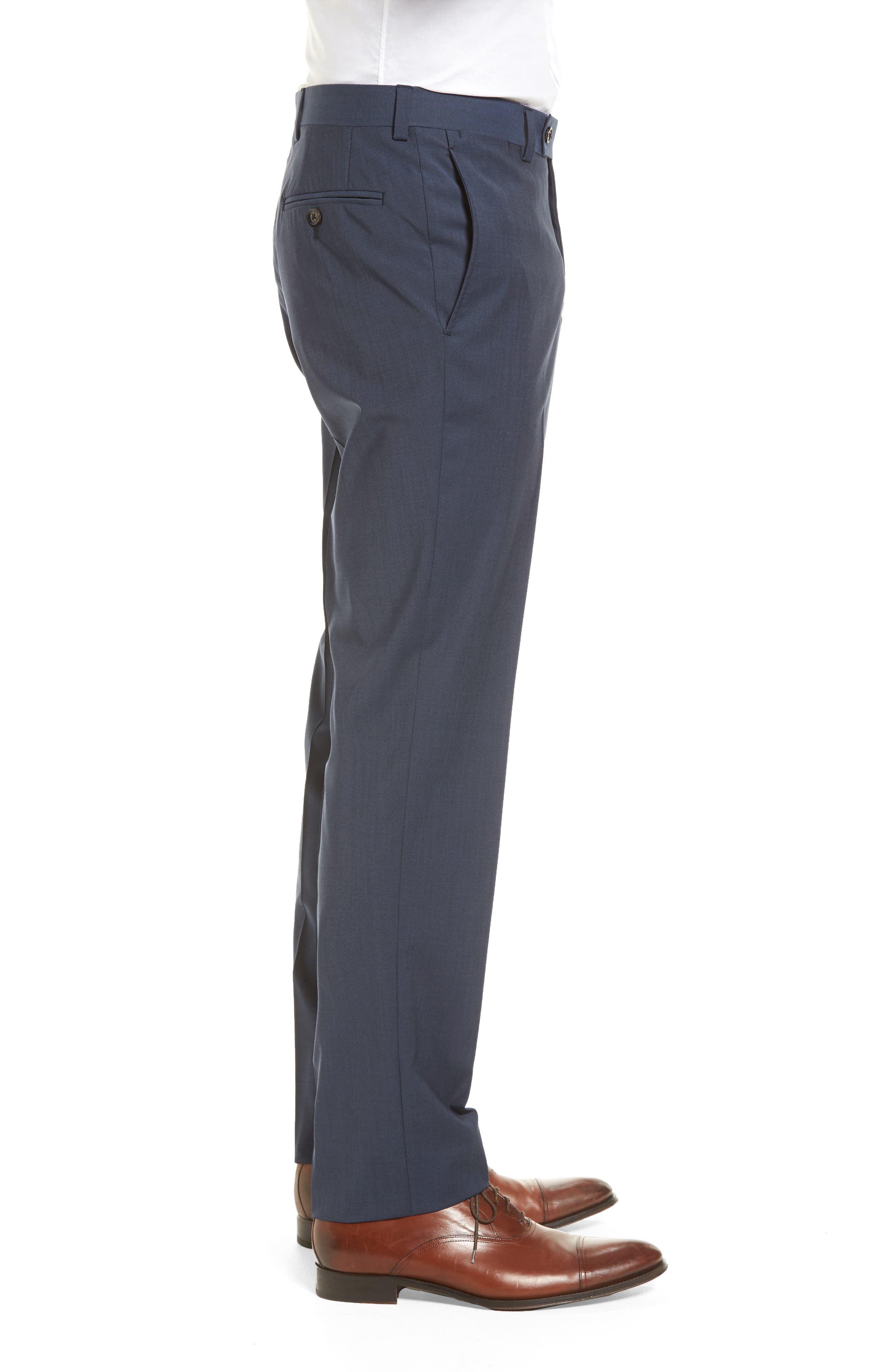 Jefferson Flat Front Stretch Wool Trousers,                             Alternate thumbnail 3, color,                             Blue
