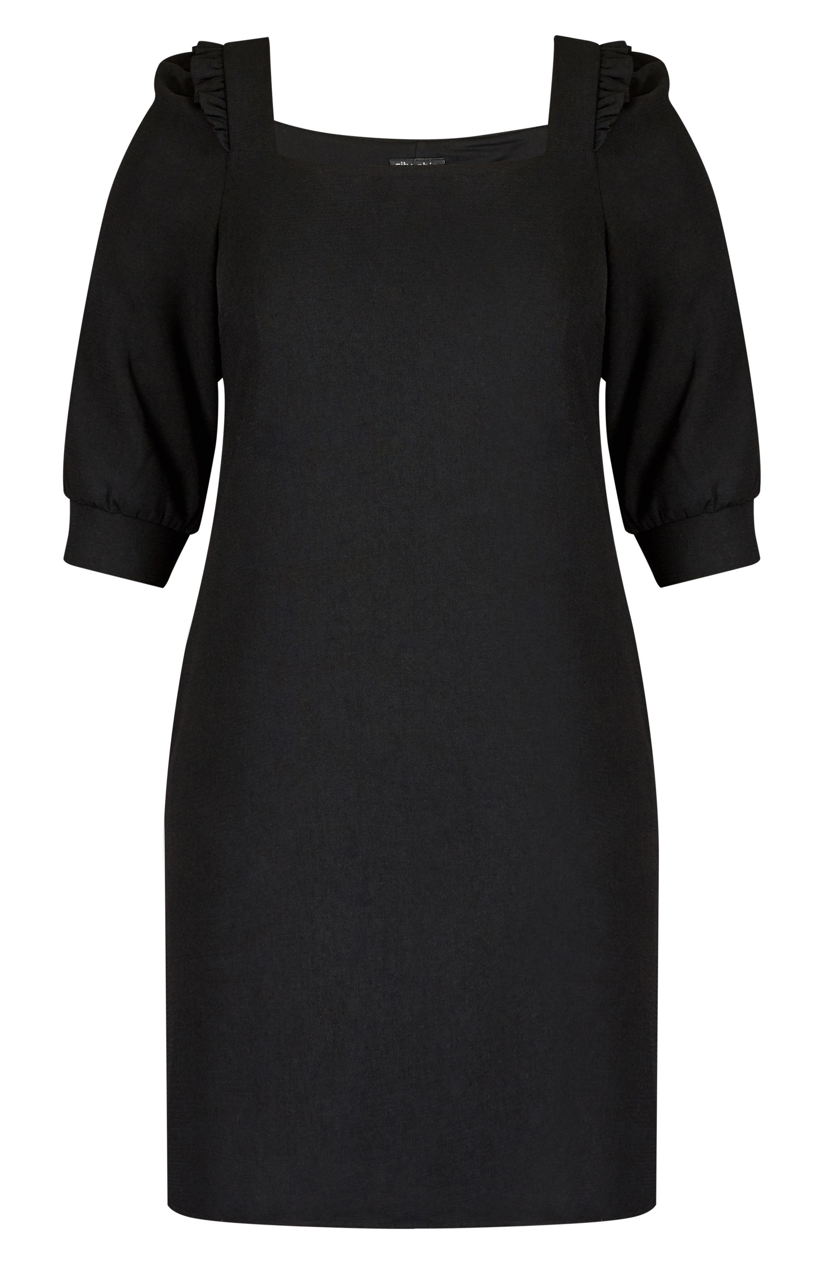 Darling Square Neck Dress,                             Alternate thumbnail 3, color,                             Black