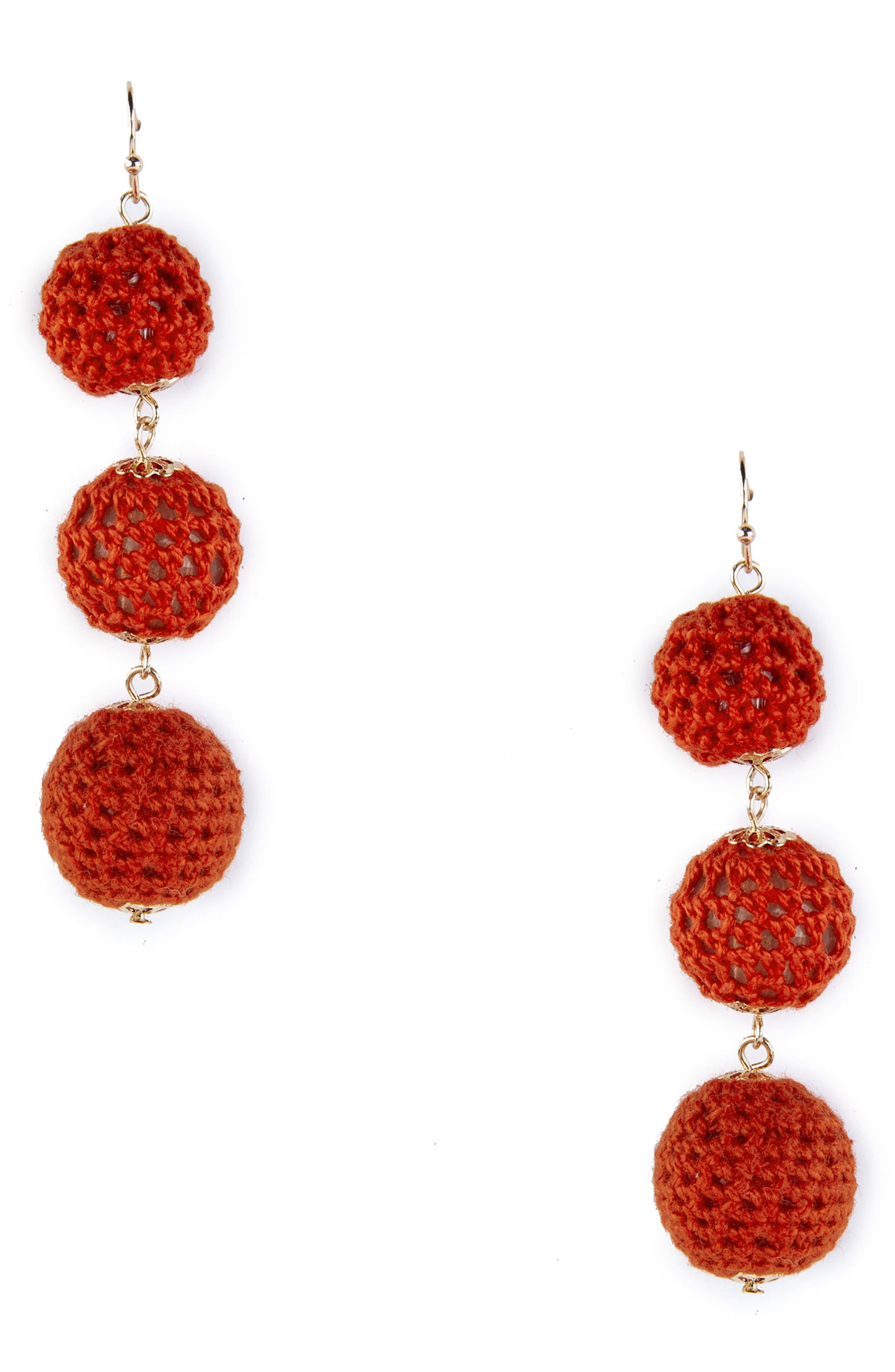Sole Society Crochet Tiered Earrings