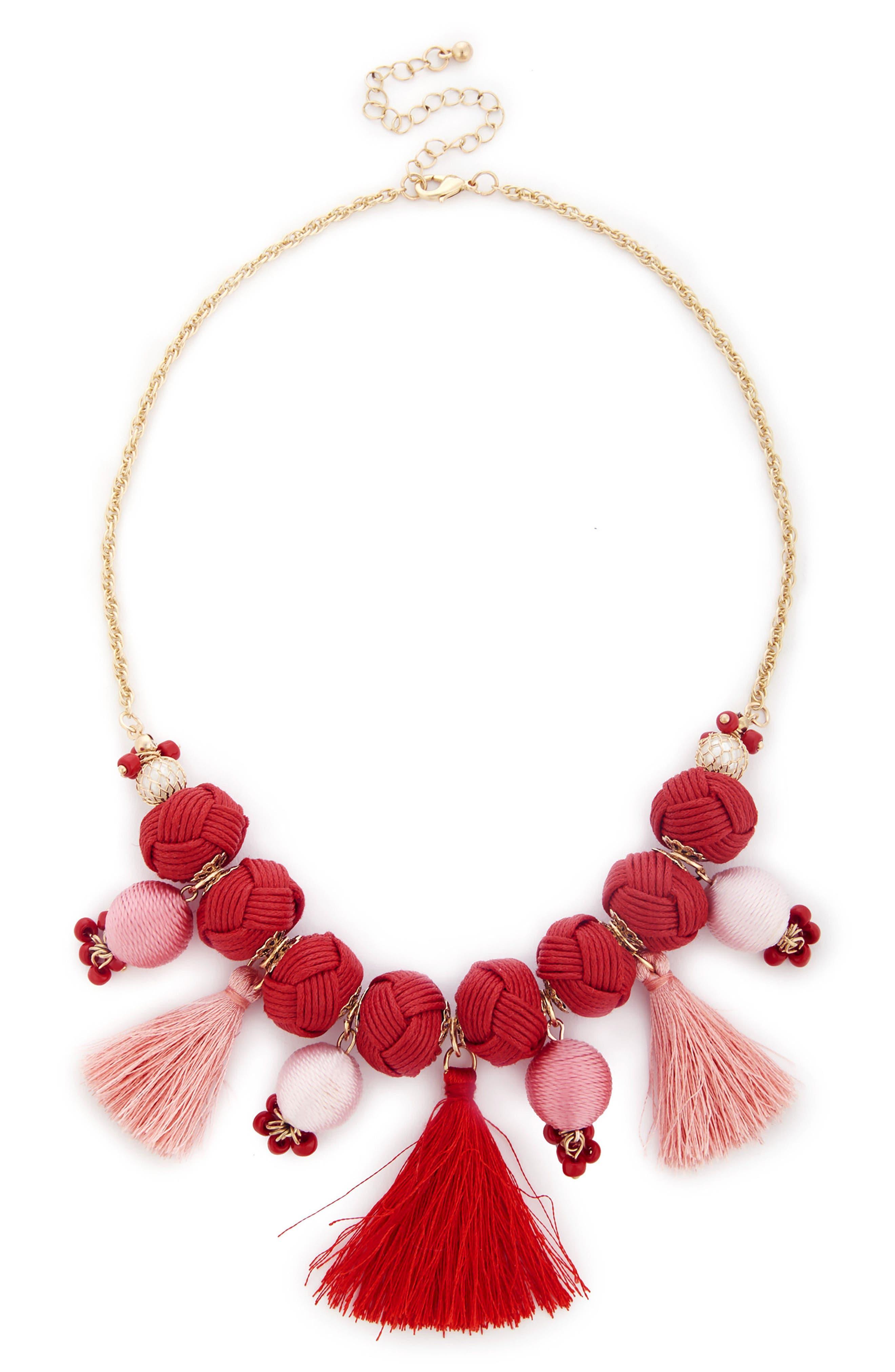 Meeko Tassel Statement Necklace,                         Main,                         color, Coral