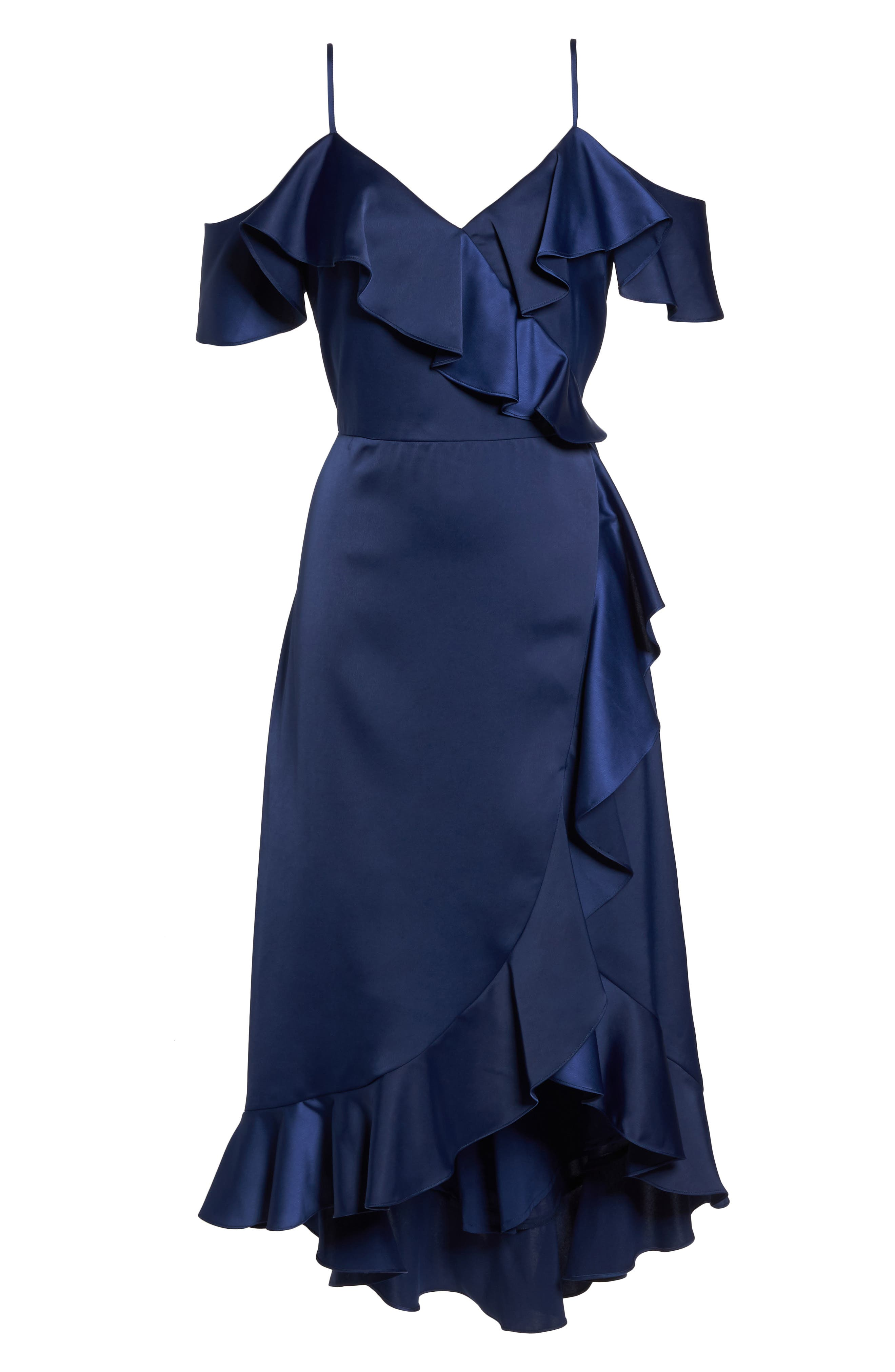 Faux Wrap Satin Ruffle Dress,                             Alternate thumbnail 6, color,                             Navy