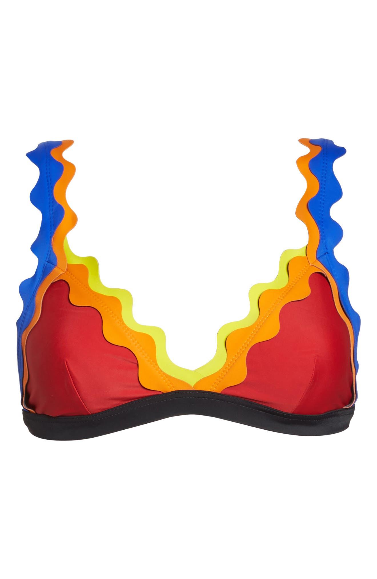 Cackle Scallop Bikini Top,                             Alternate thumbnail 9, color,                             Red
