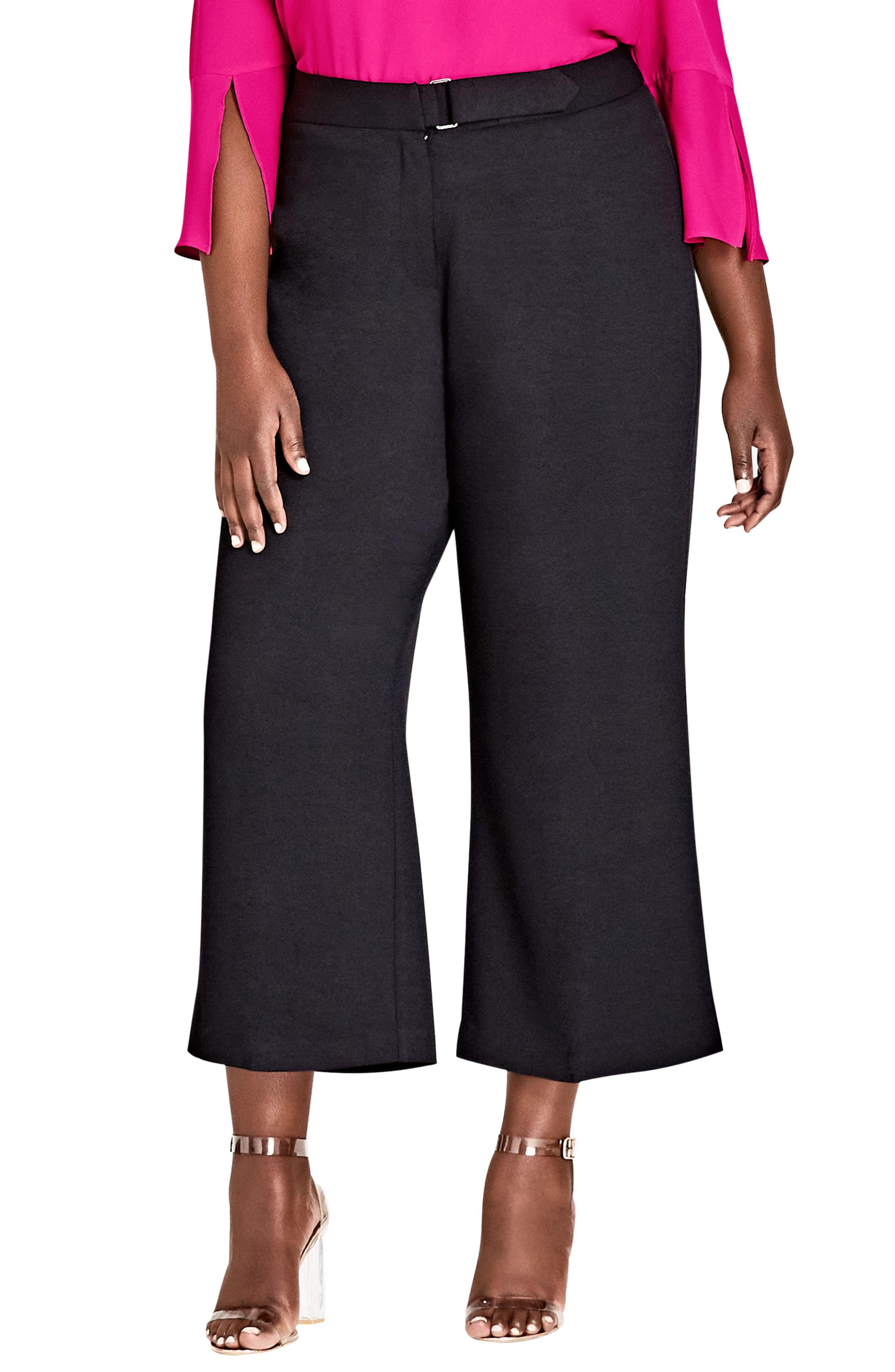 Elegant Belted Culottes,                             Main thumbnail 1, color,                             Black
