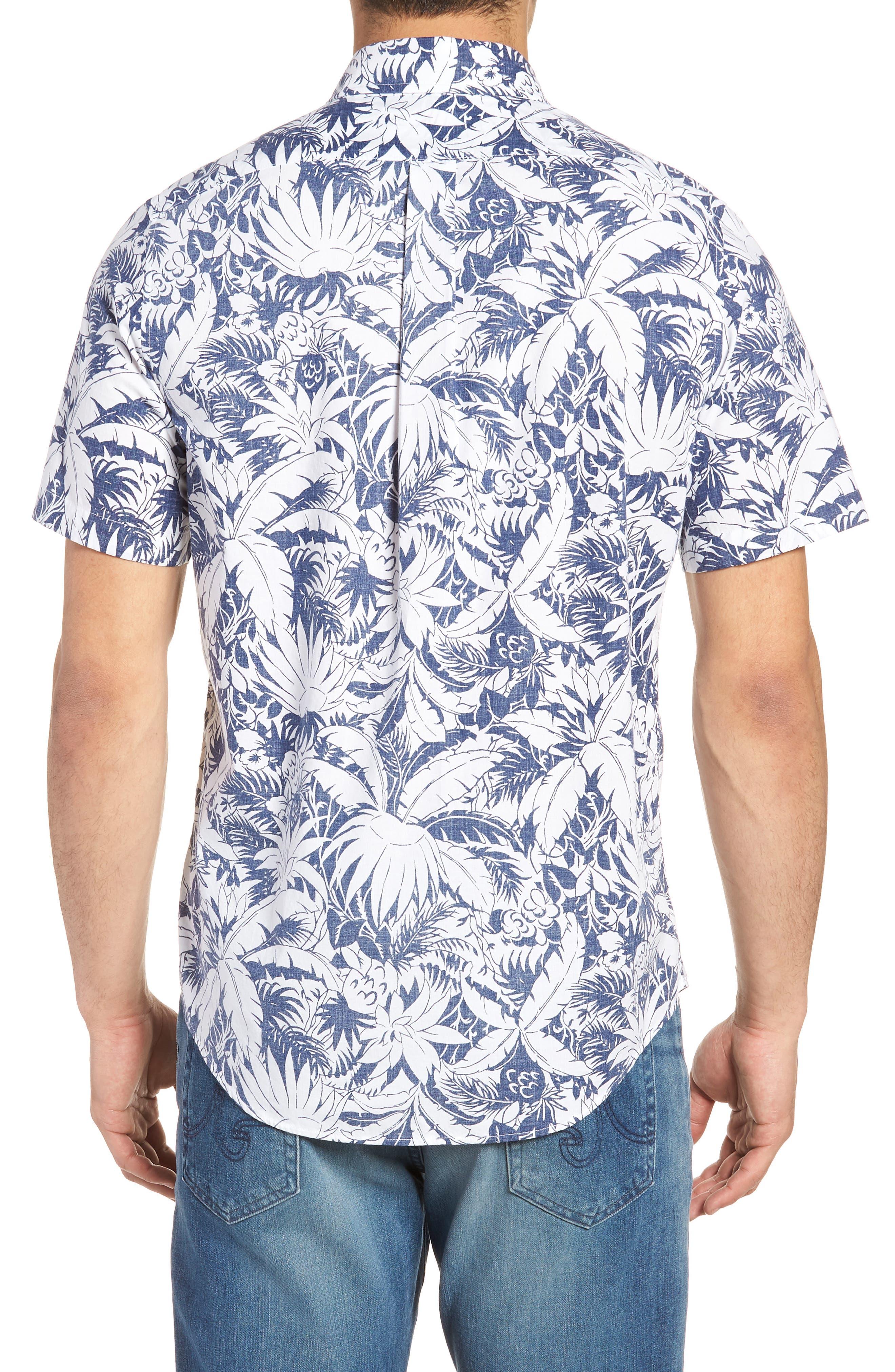 Slim Fit Print Short Sleeve Sport Shirt,                             Alternate thumbnail 2, color,                             Deep Bay