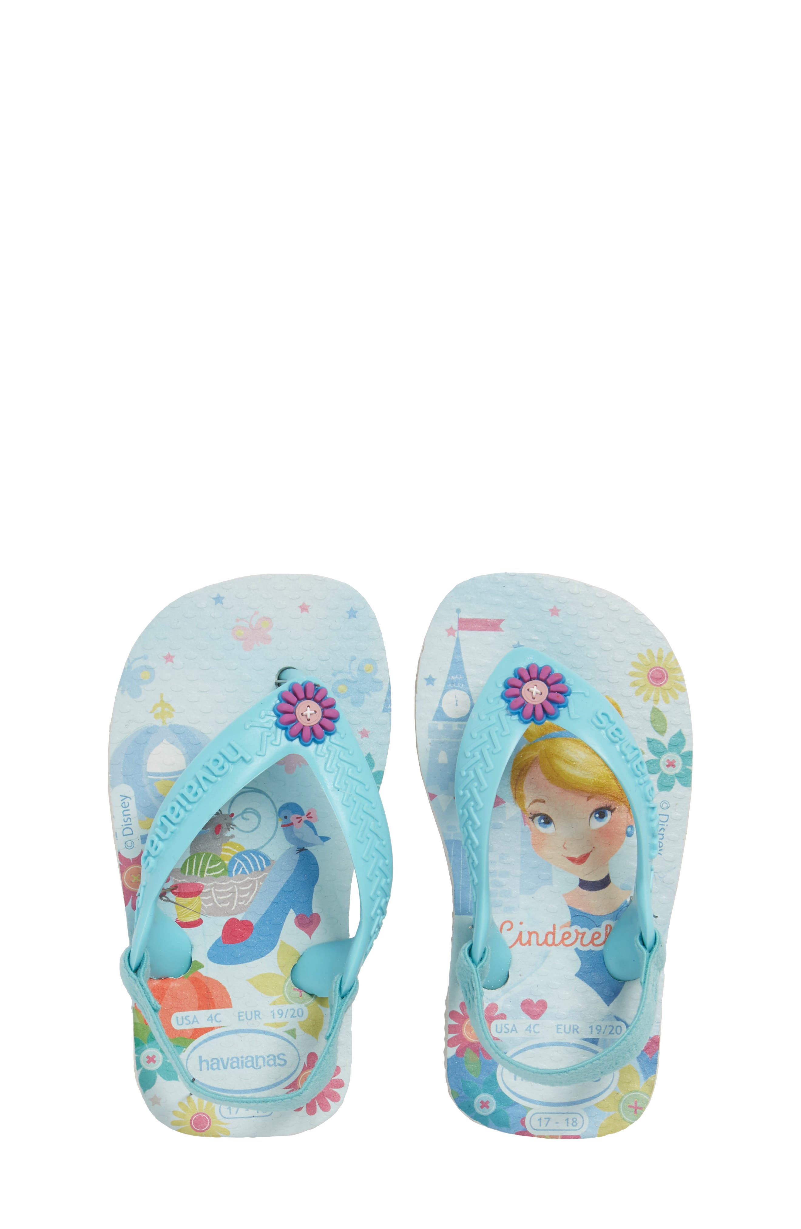 Baby Disney<sup>®</sup> Princess Flip Flop,                             Main thumbnail 1, color,                             White/ Ice Blue
