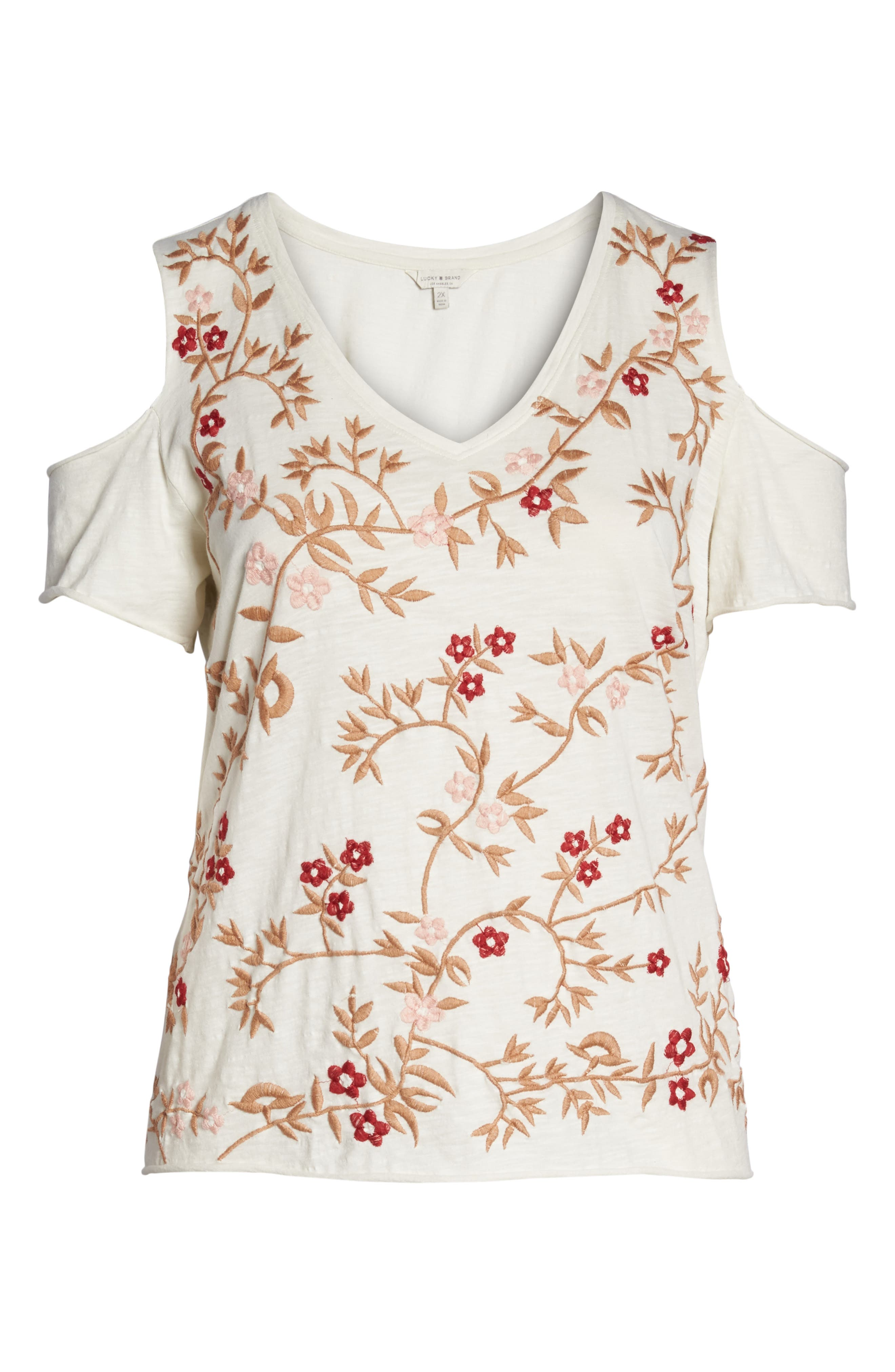 Alternate Image 6  - Lucky Brand Floral Embroidered Tee (Plus Size)