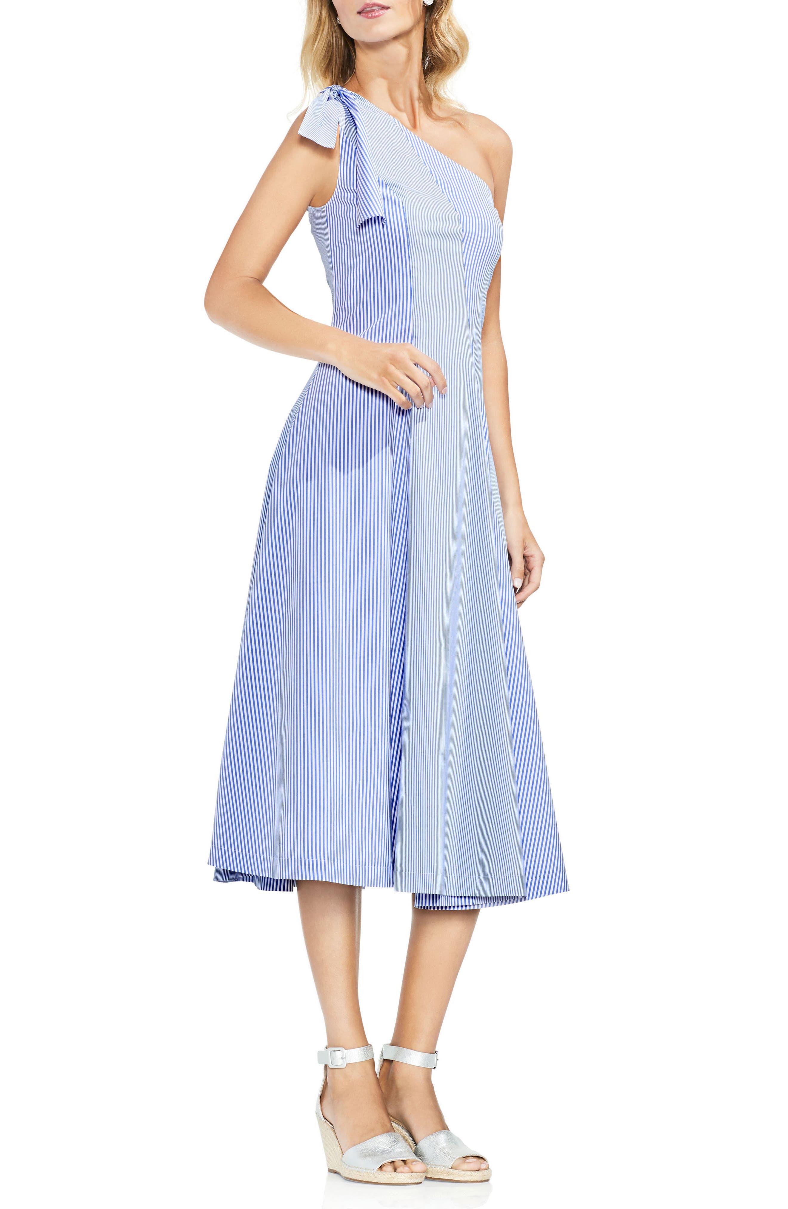 Vince Camuto One-Shoulder Pinstripe Dress