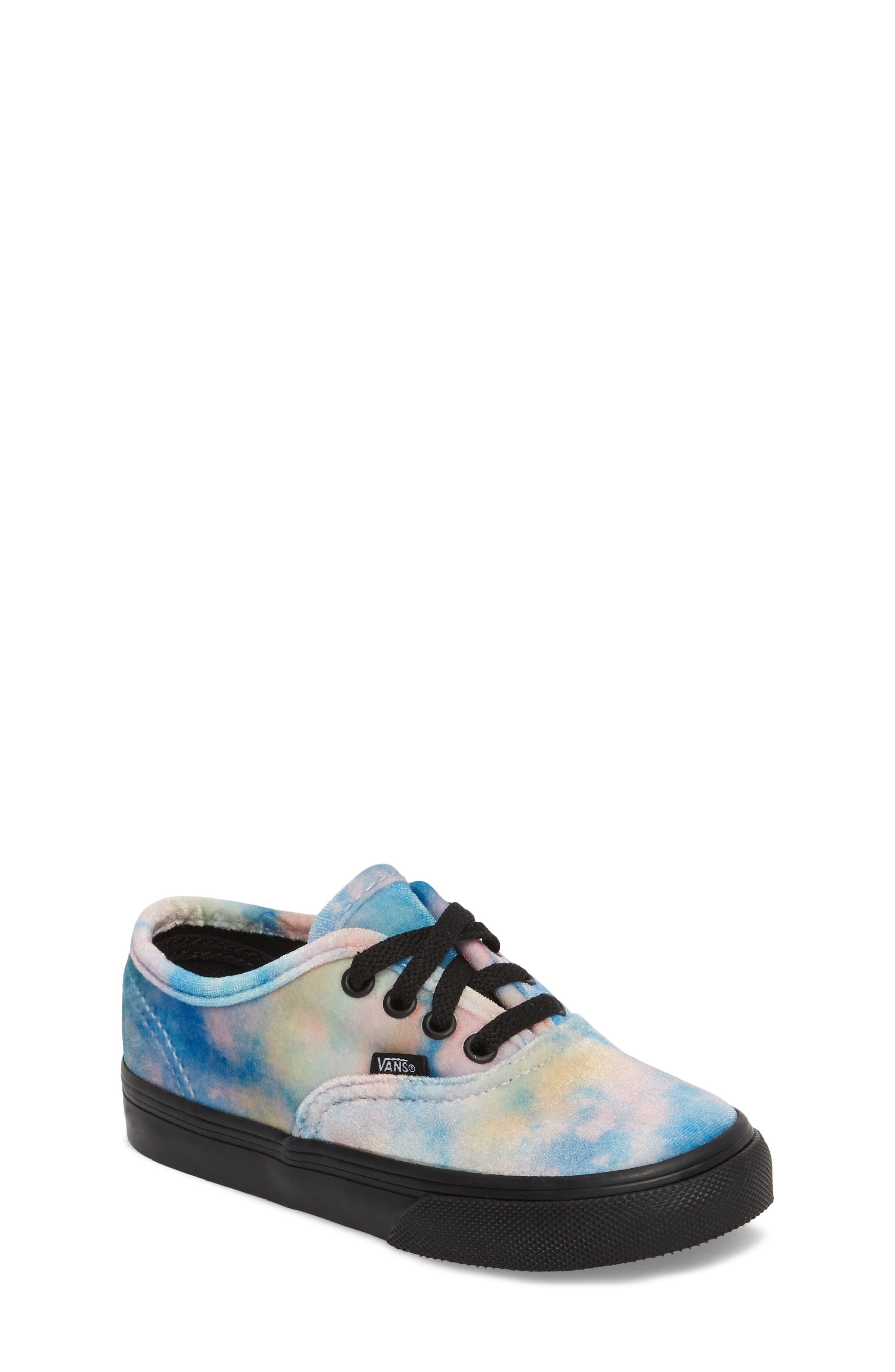 Authentic Velvet Tie Dye Sneaker,                             Main thumbnail 1, color,                             Black/ Multi Velvet Tie Dye