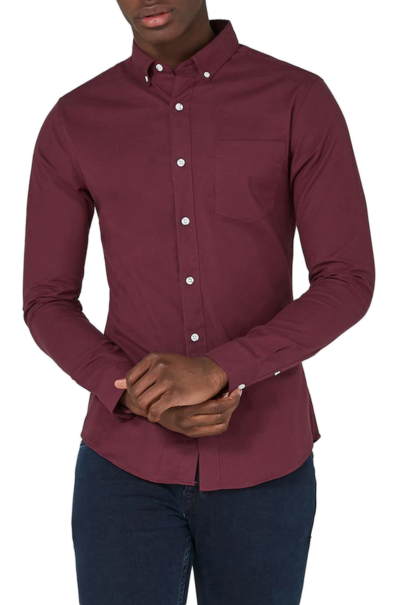 Muscle Fit Oxford Shirt,                         Main,                         color, Burgundy