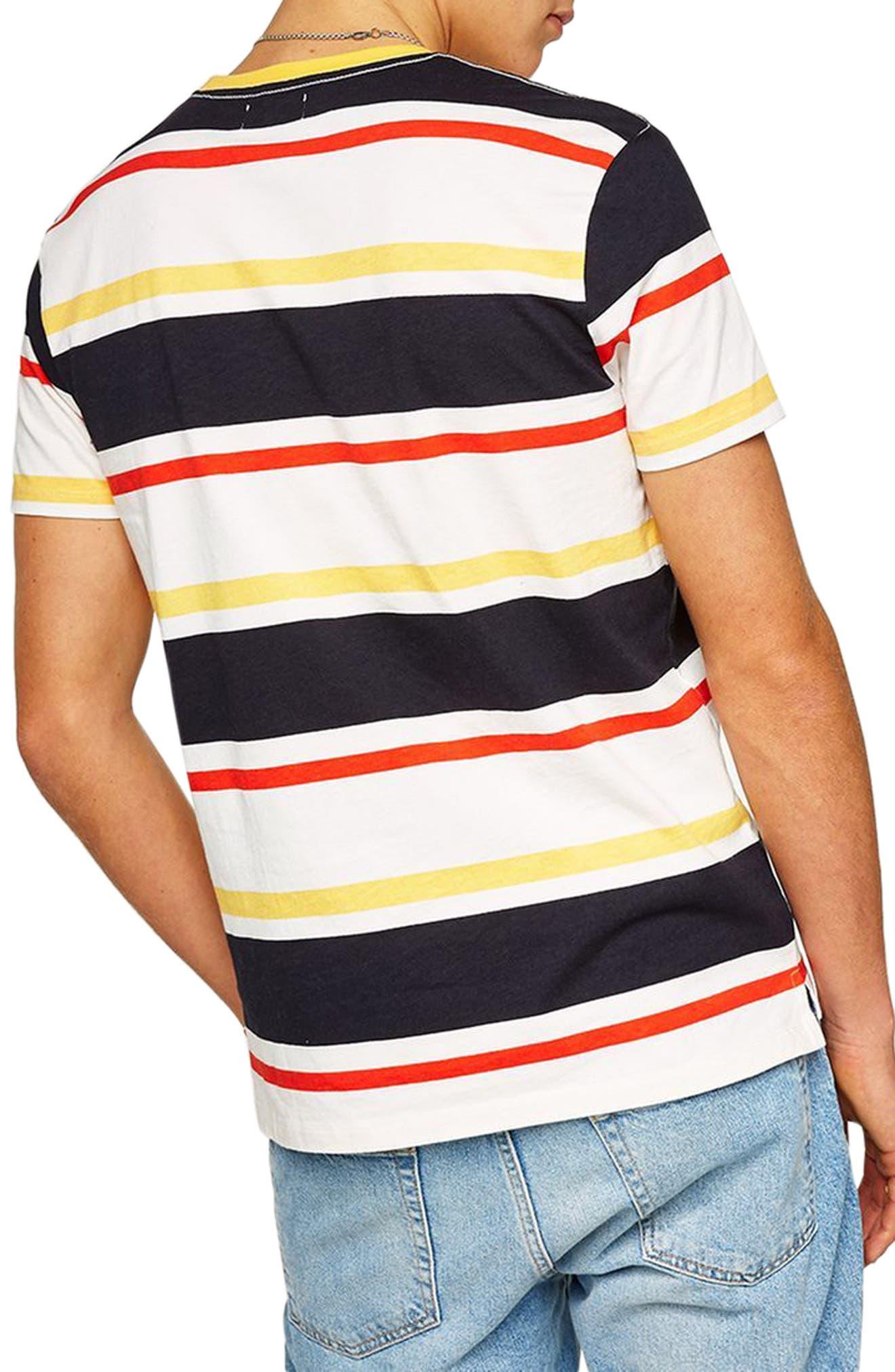 Slim Fit Stripe T-Shirt,                             Alternate thumbnail 2, color,                             Yellow Multi