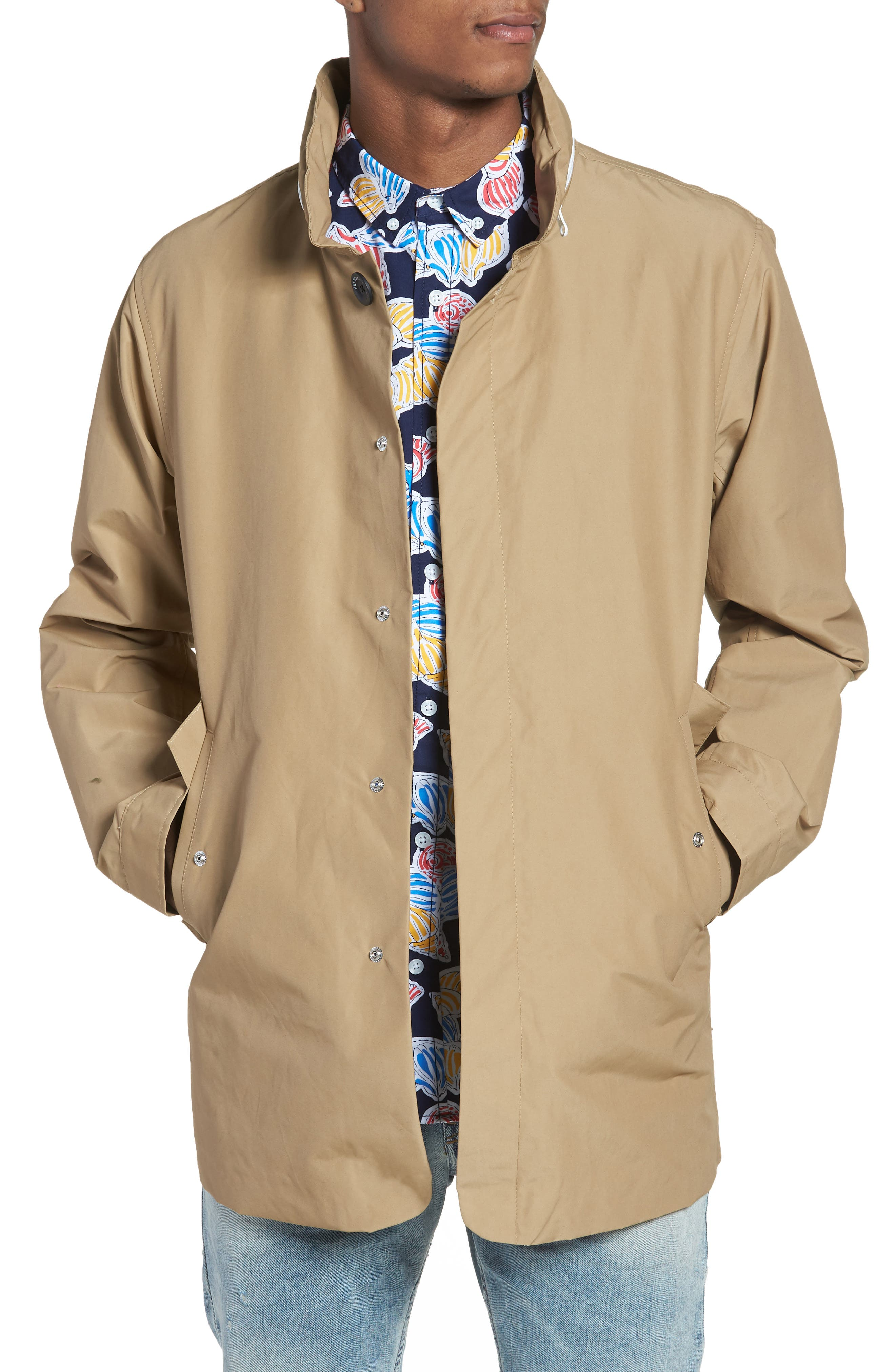 Stowaway Mac Jacket,                             Main thumbnail 1, color,                             Khaki/ Woodland Camo