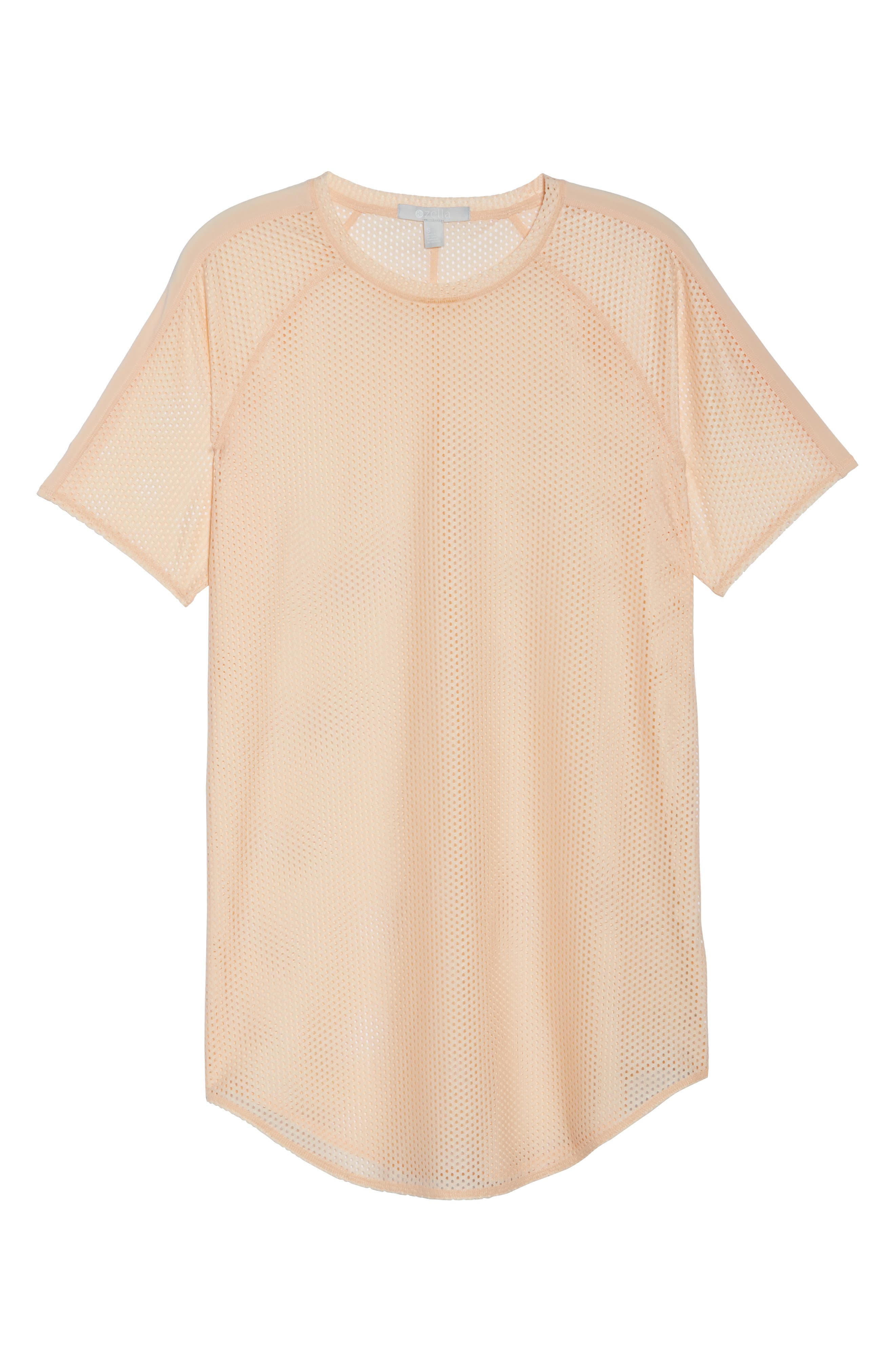 Throwback Mesh Tunic,                             Alternate thumbnail 7, color,                             Coral Pale