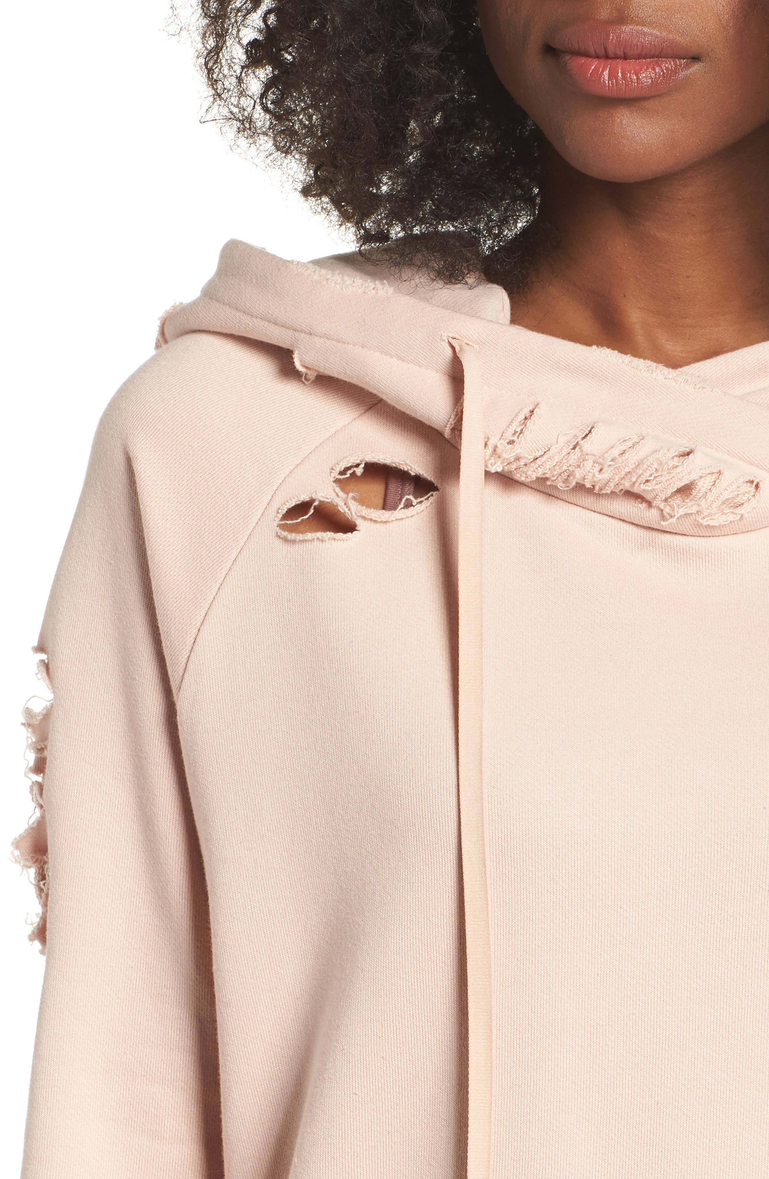 Ripped Hoodie,                             Alternate thumbnail 4, color,                             Nectar