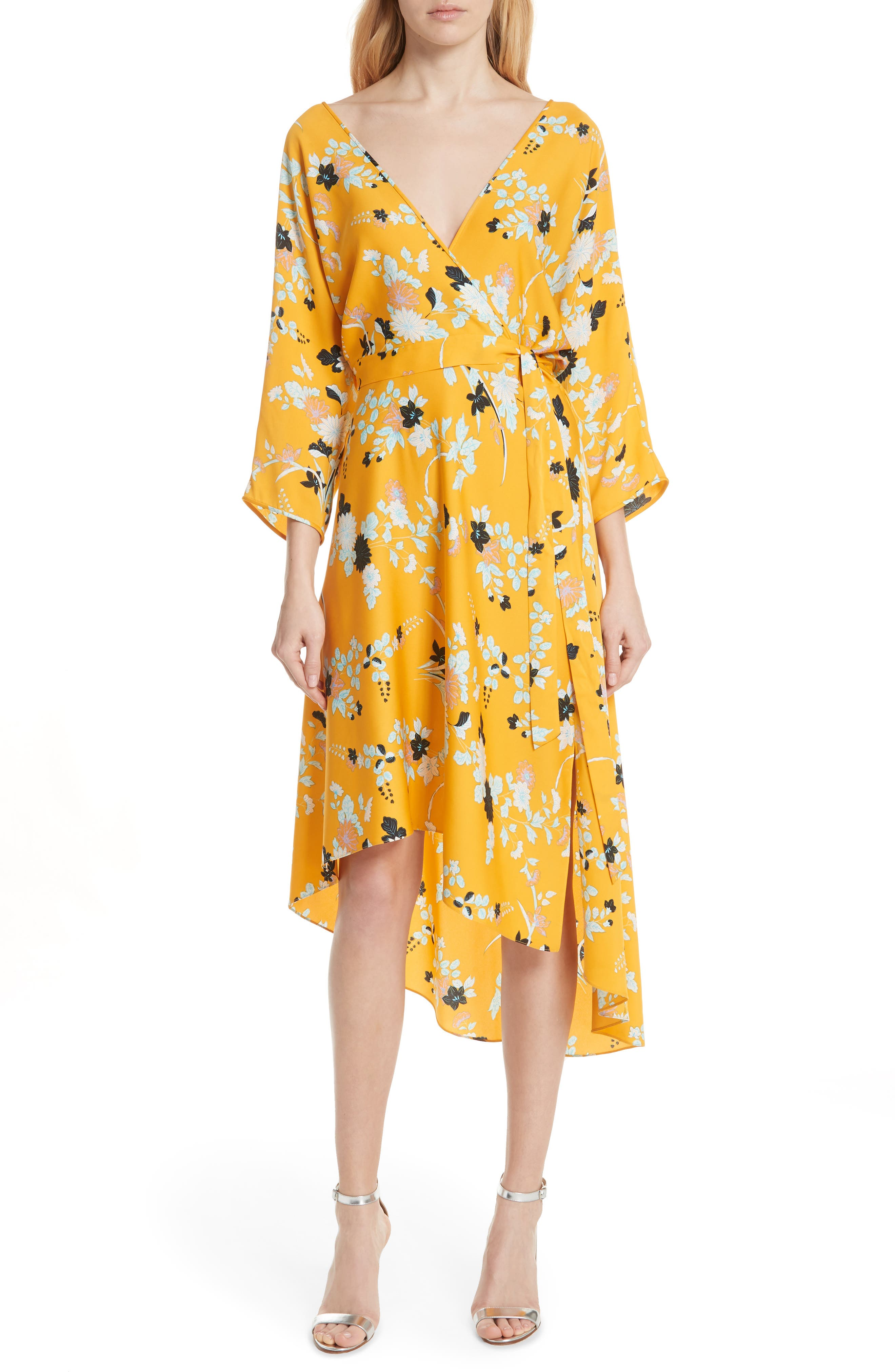 Silk Asymmetrical Ruffle Hem Dress,                         Main,                         color, Walden Marigold