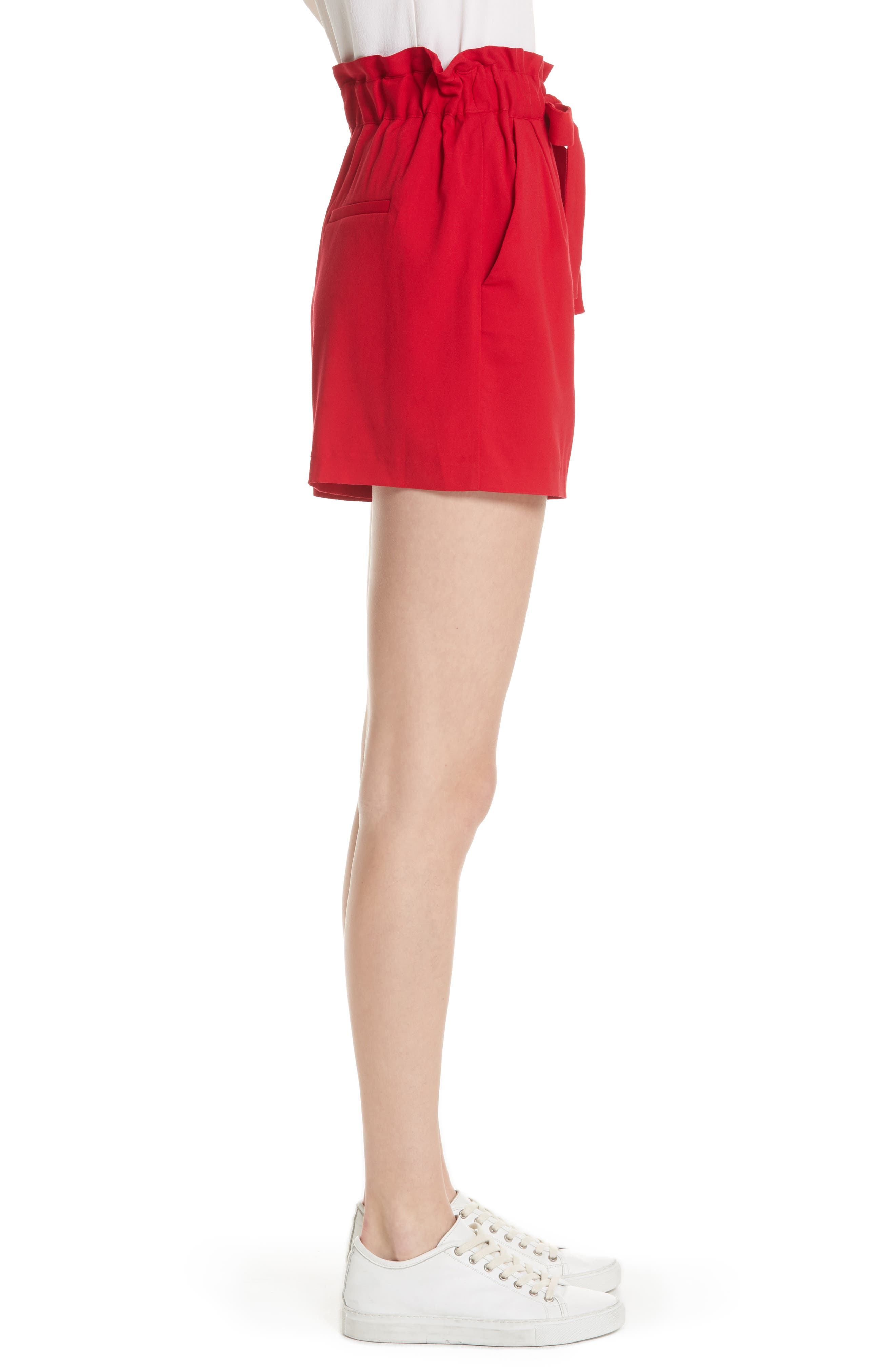Iona Paperbag Shorts,                             Alternate thumbnail 3, color,                             Red