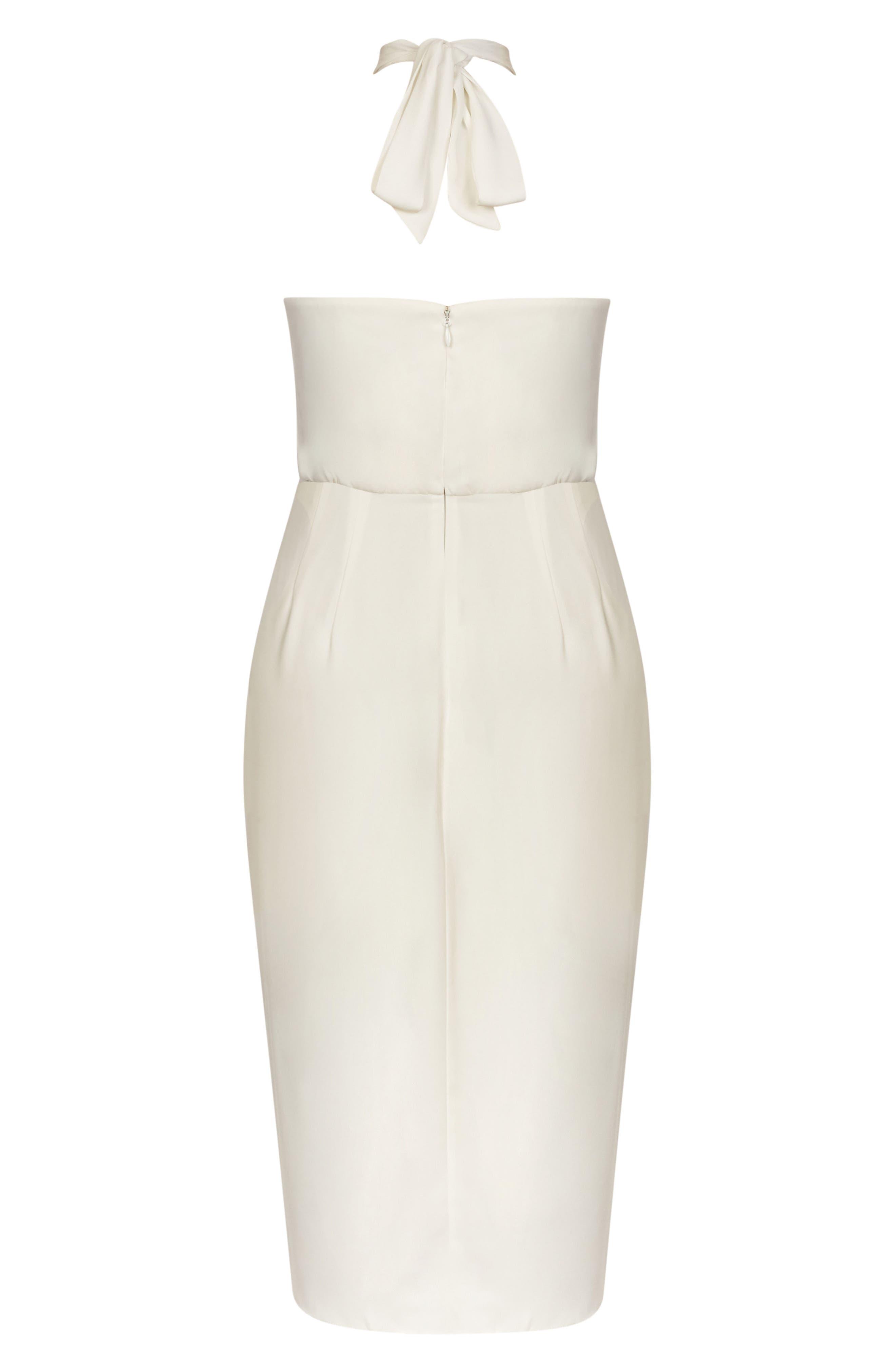 Romance Blouson Halter Dress,                             Alternate thumbnail 3, color,                             Ivory