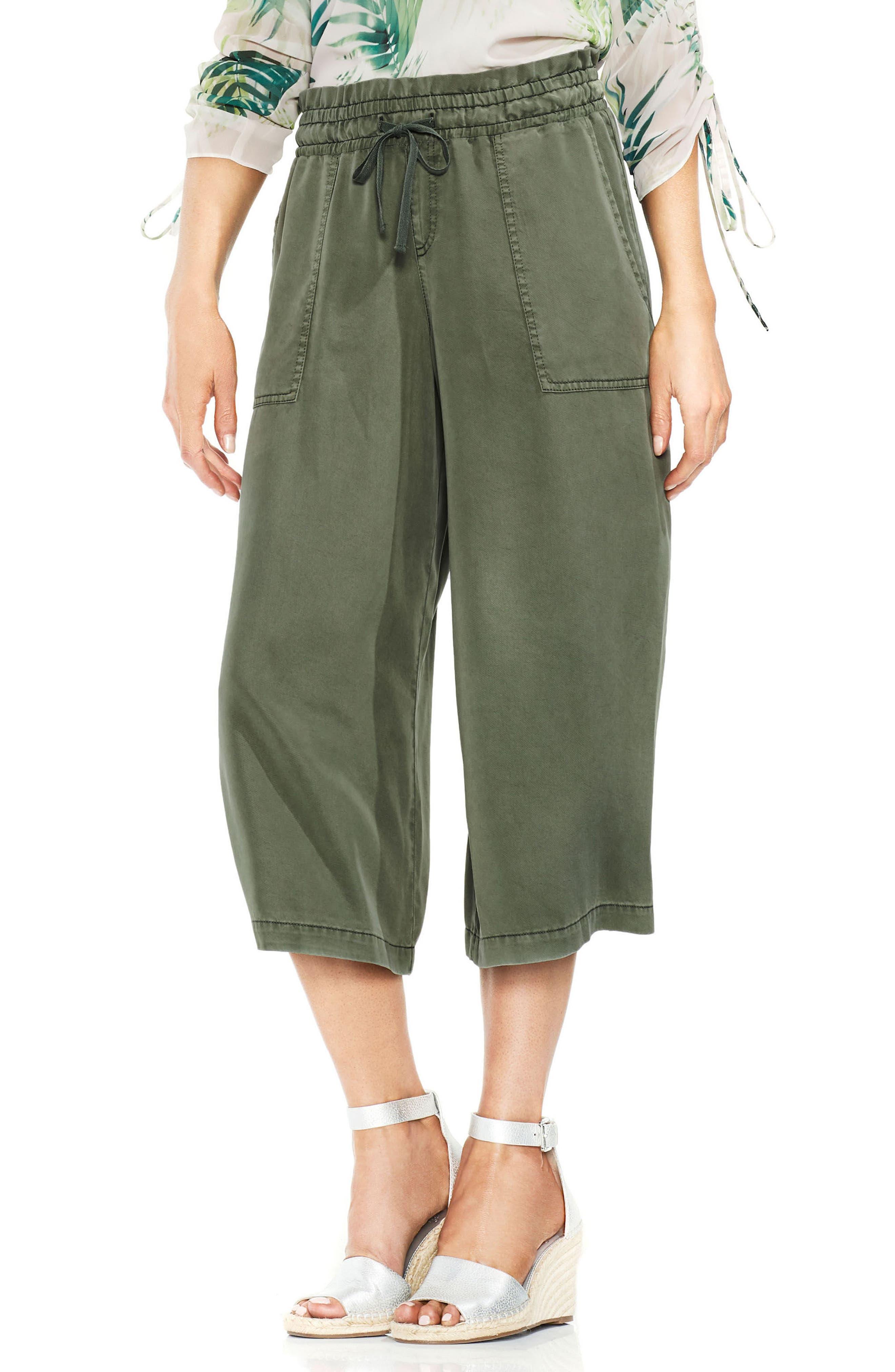 Tie Waist Wide Leg Crop Pants,                             Main thumbnail 1, color,                             Canopy Green