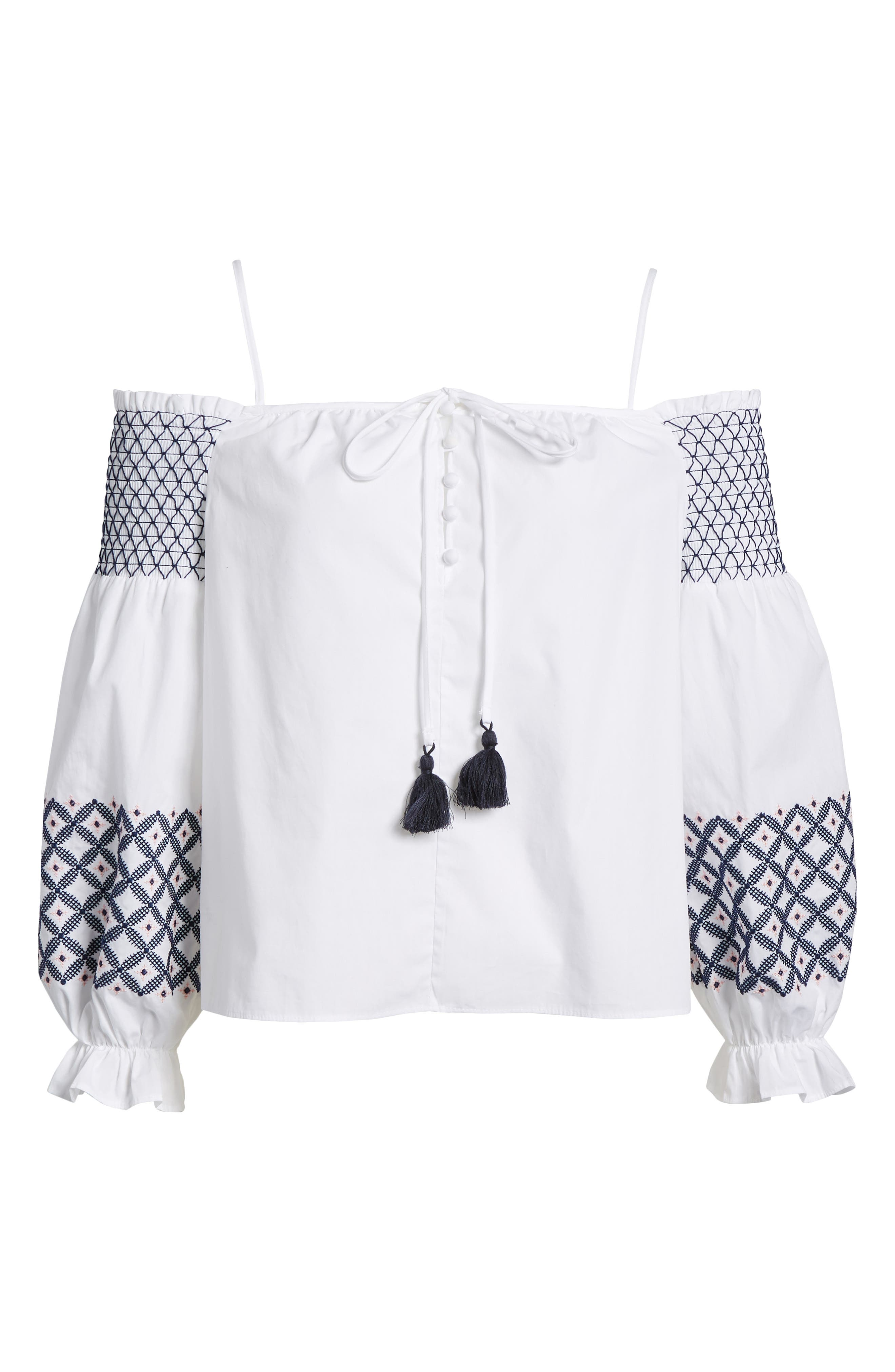 Tiffany Embroidered Cold Shoulder Top,                             Alternate thumbnail 7, color,                             White