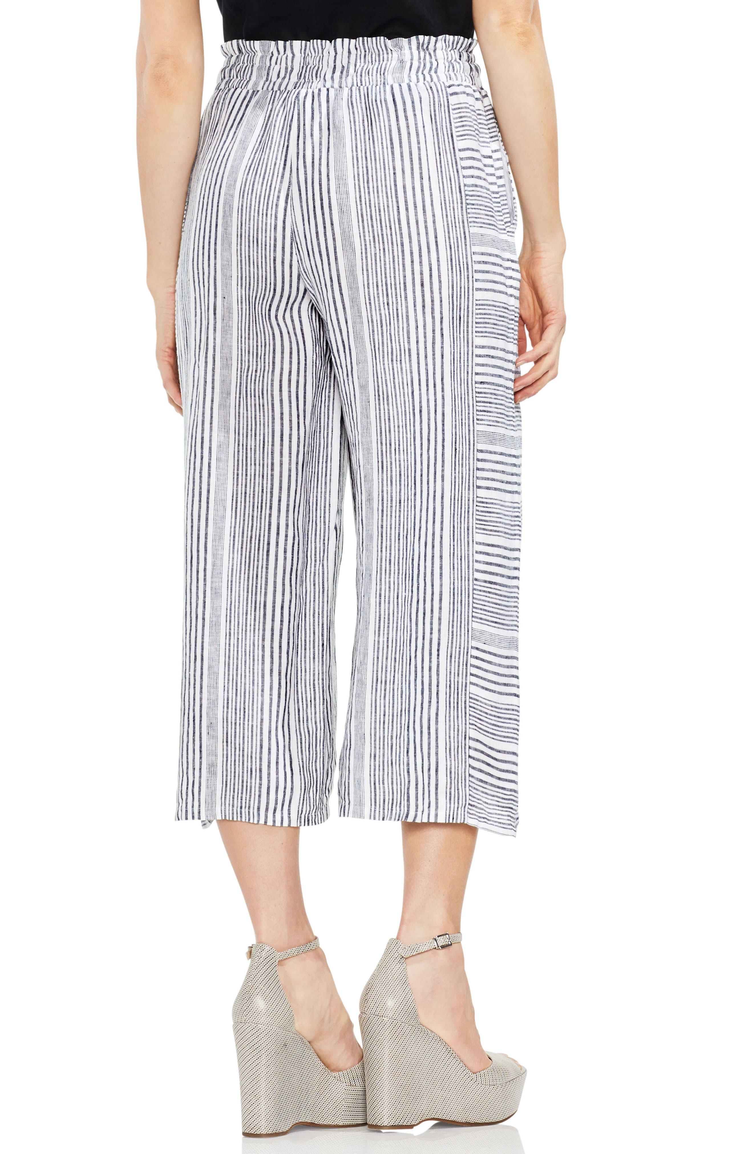 Variegated Stripe Linen Crop Pants,                             Alternate thumbnail 2, color,                             Rich Black