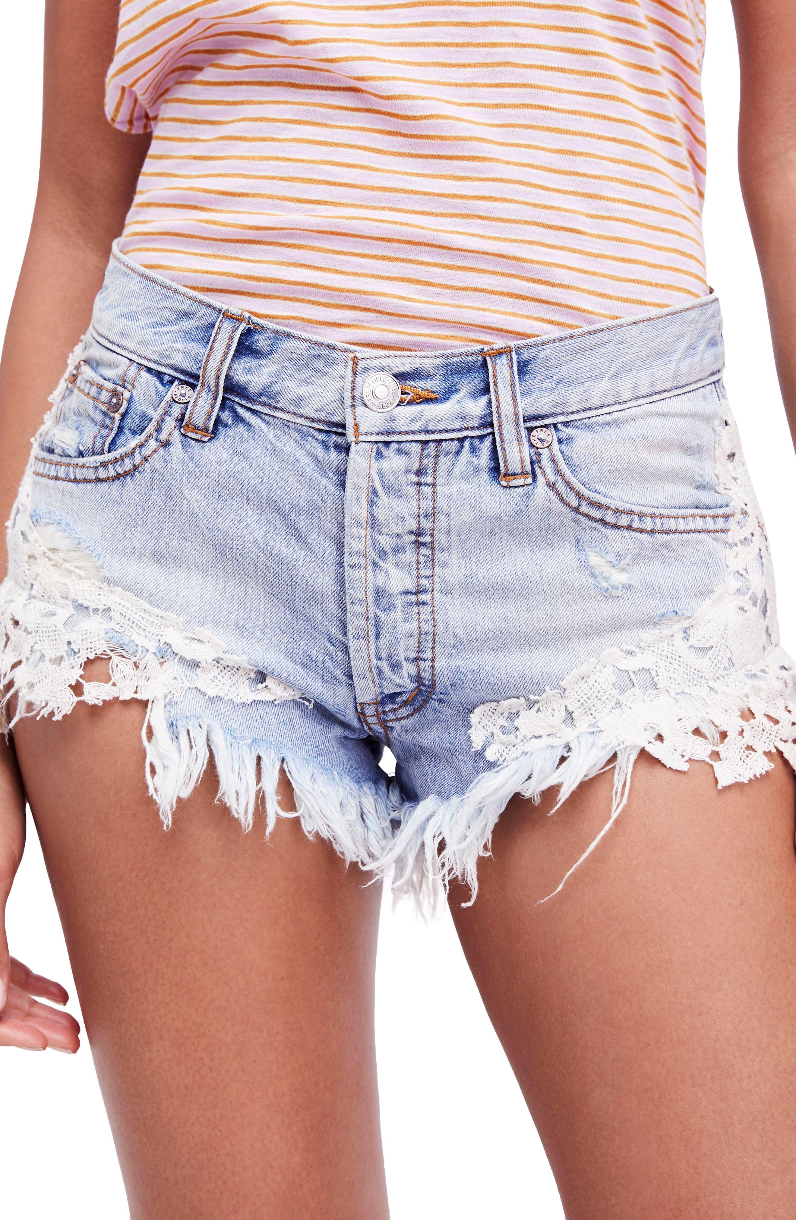 Good Vibes Lace Hem Denim Shorts,                         Main,                         color, Blue