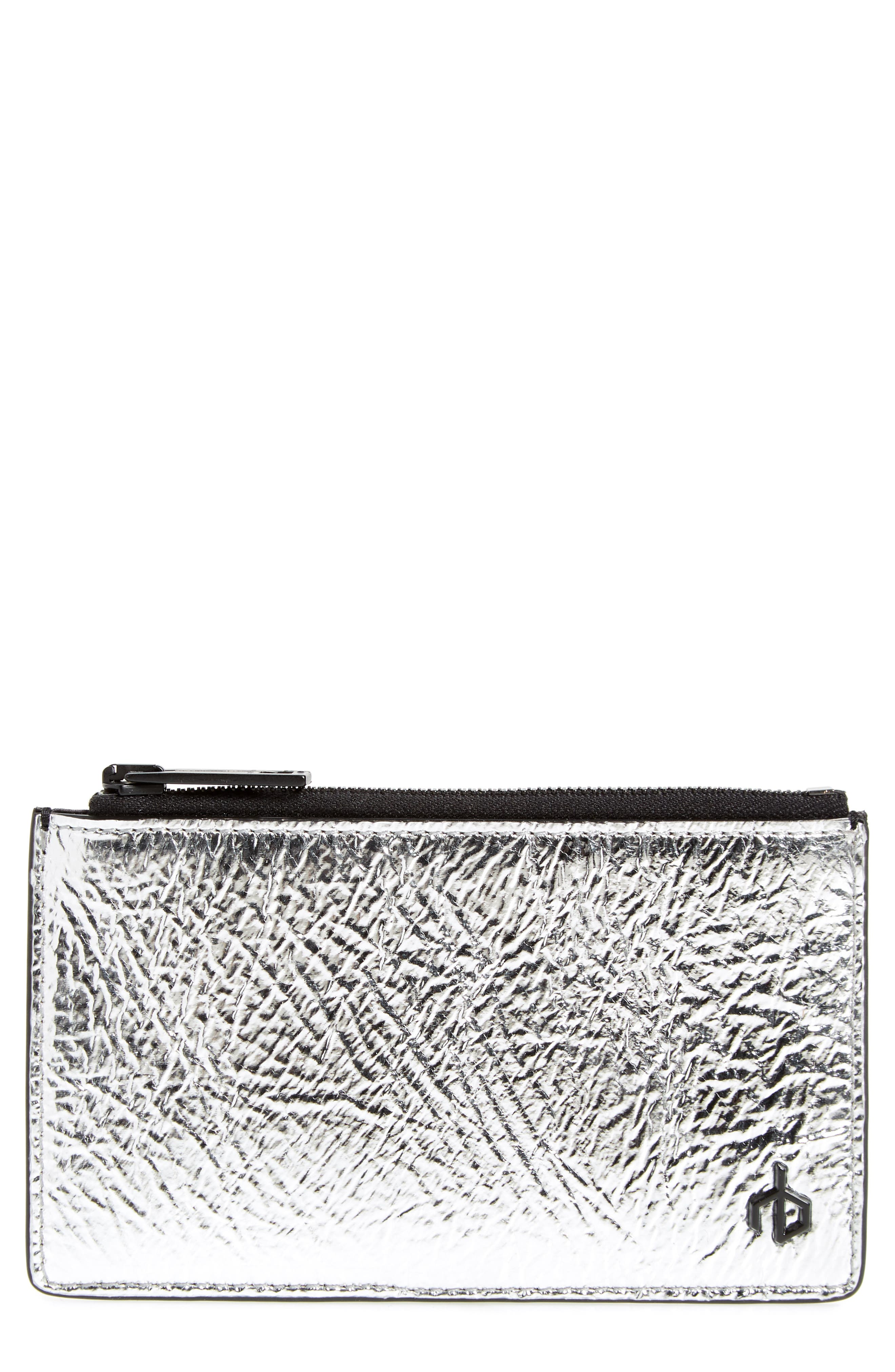 metallic leather card case,                         Main,                         color, Silver