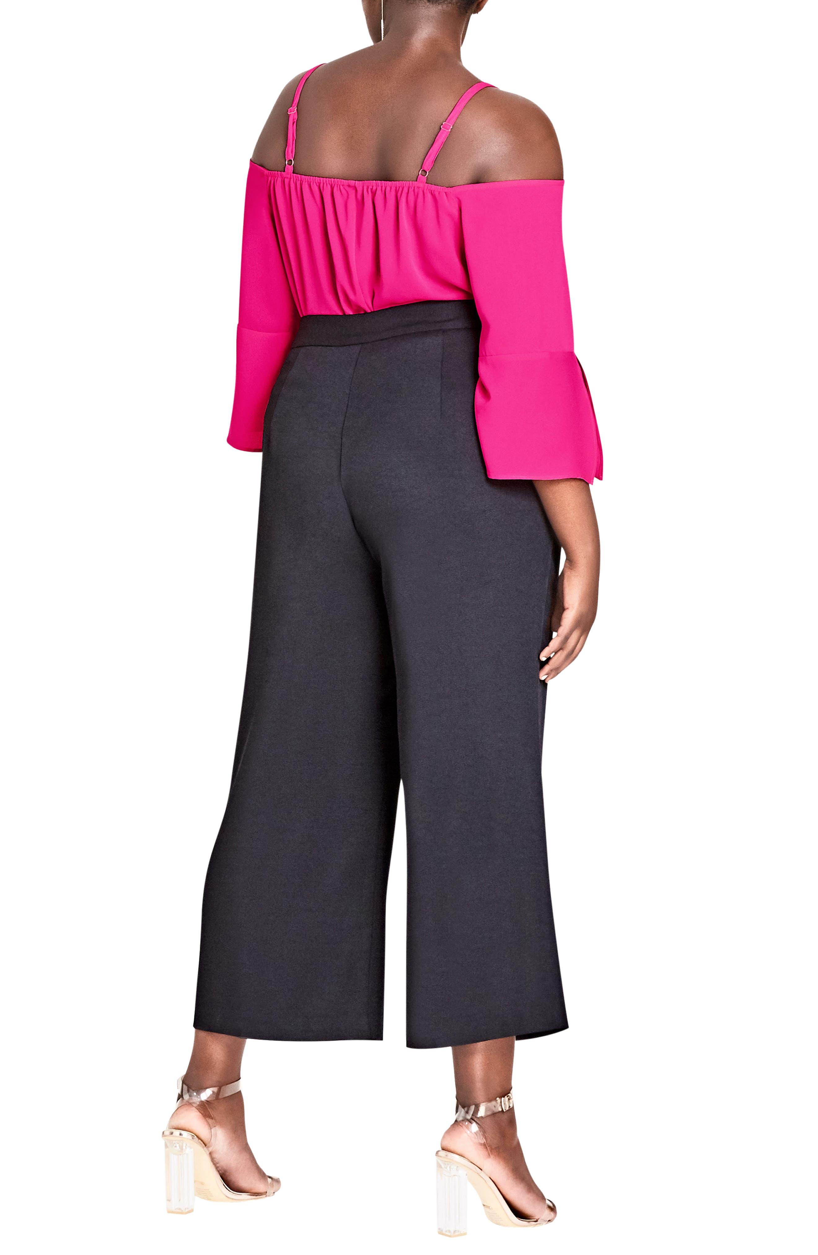 Elegant Belted Culottes,                             Alternate thumbnail 2, color,                             Black