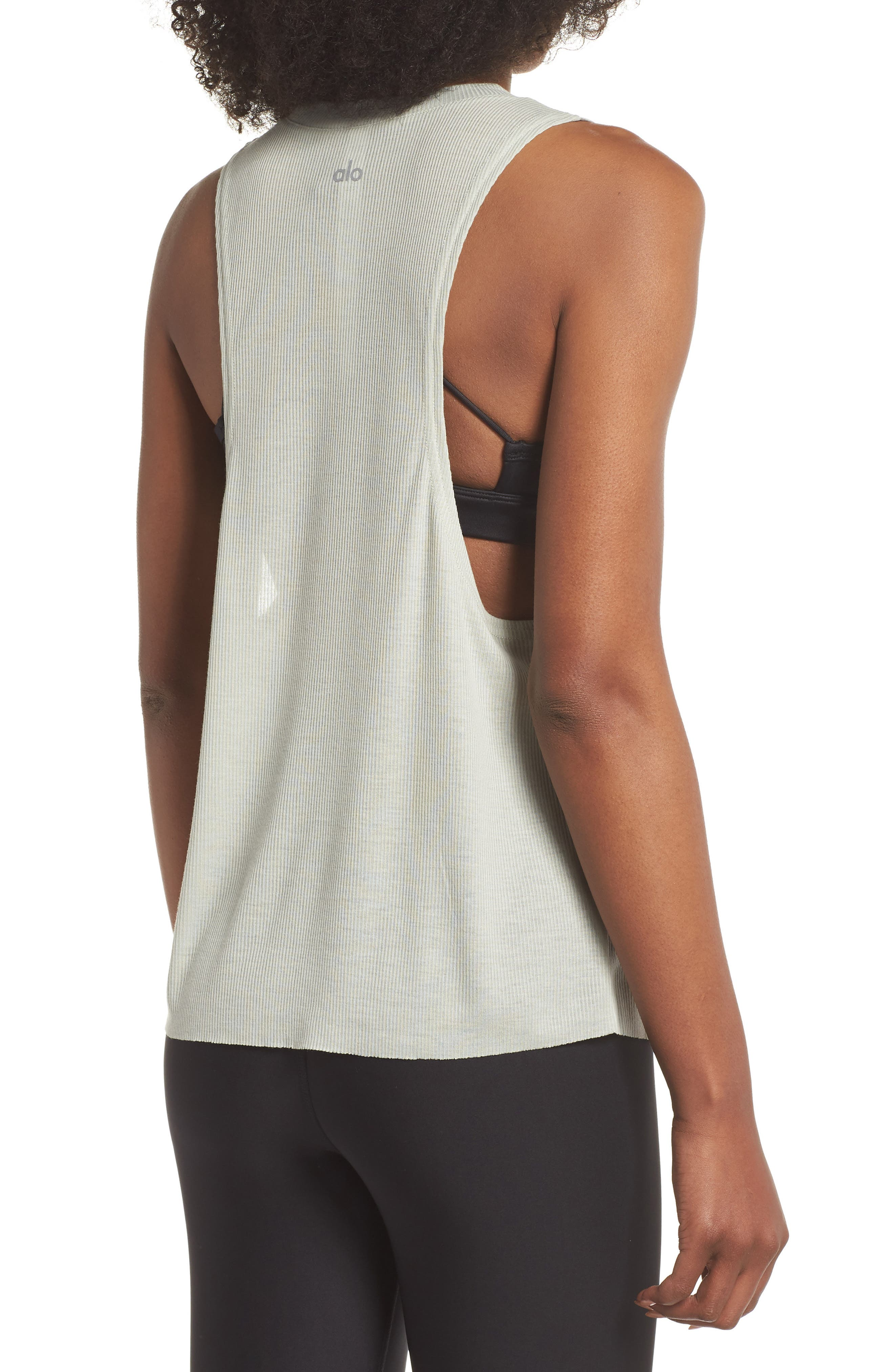 Heat Wave Ribbed Muscle Tee,                             Alternate thumbnail 2, color,                             Pistachio