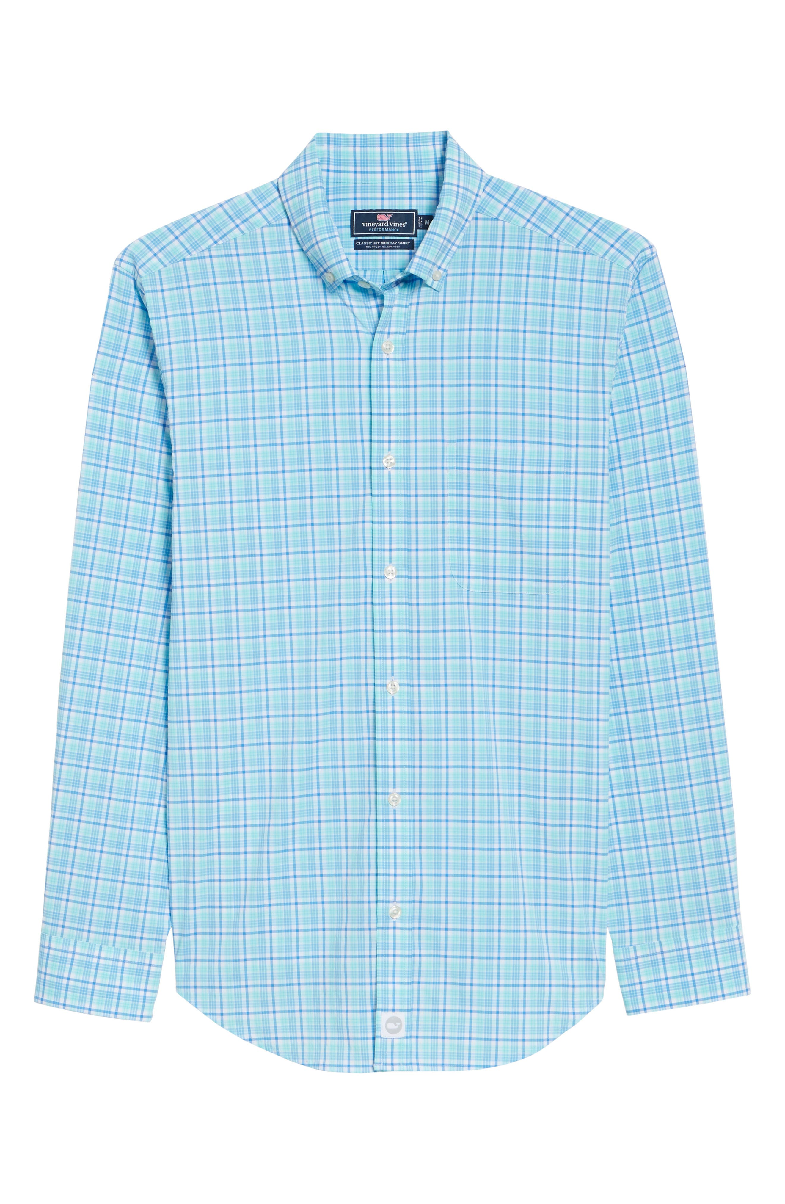Tipsy Bar Classic Fit Stretch Plaid Sport Shirt,                             Alternate thumbnail 6, color,                             Turquoise