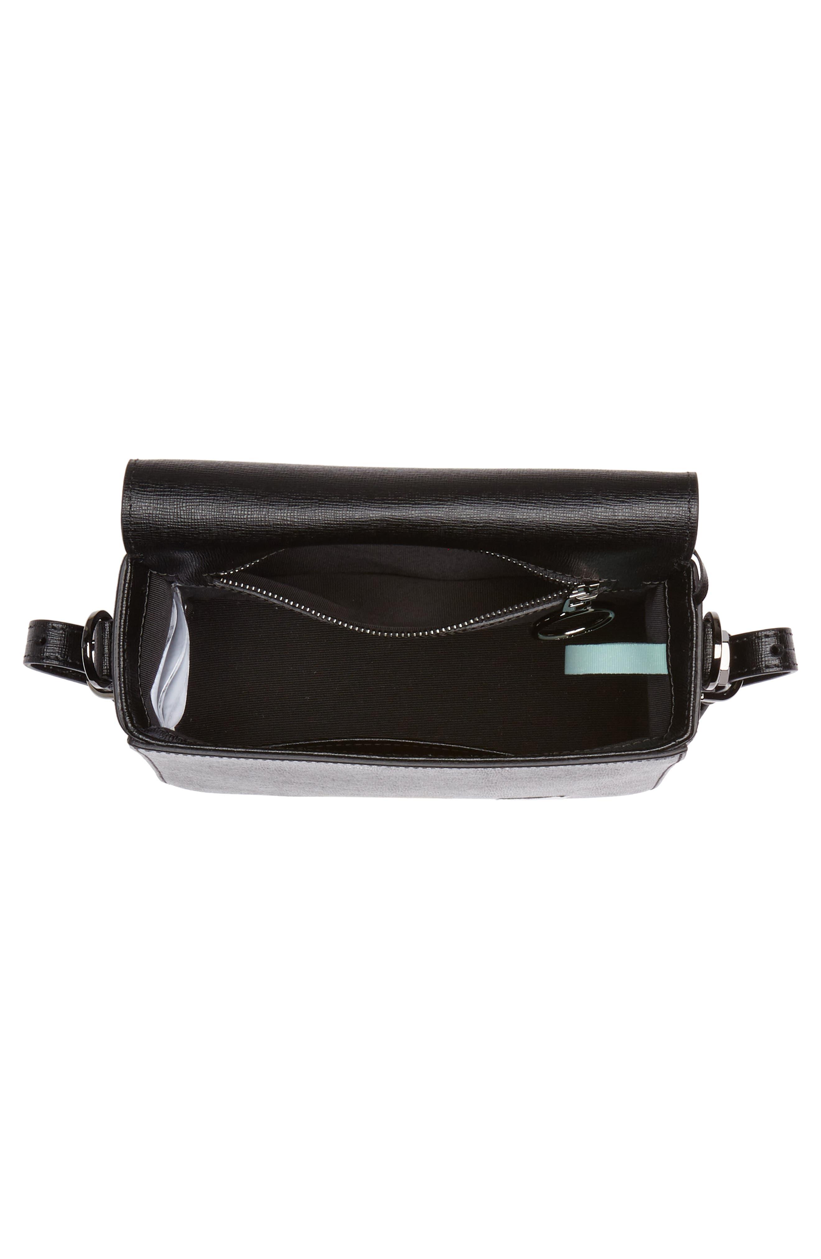 Binder Clip Leather Flap Bag,                             Alternate thumbnail 5, color,                             Black