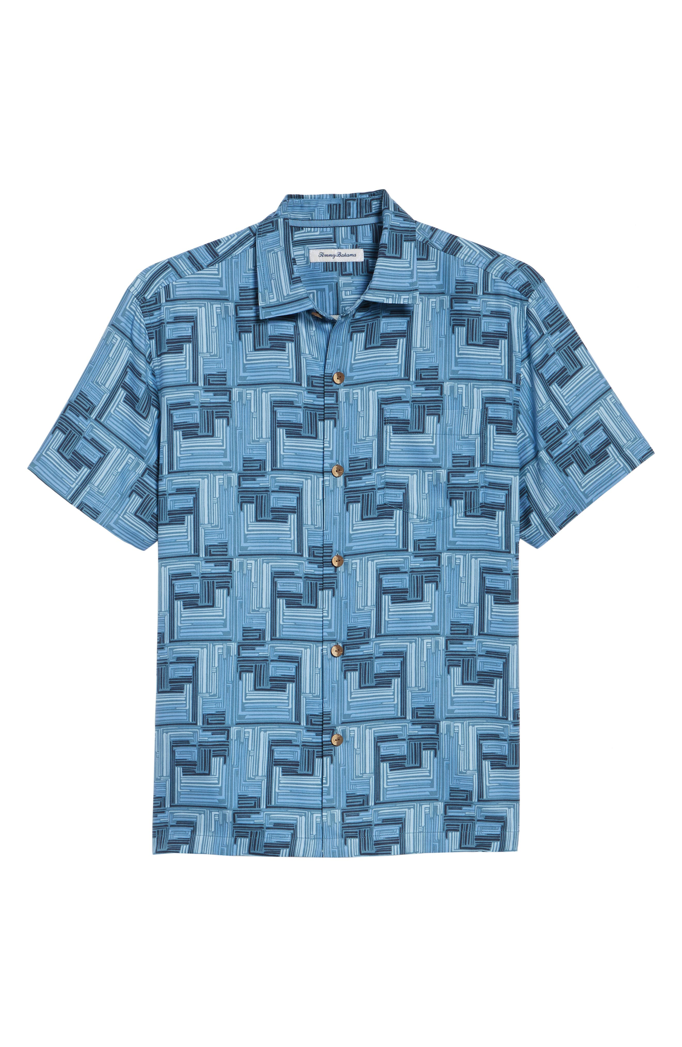 Mayan Maze Silk Blend Performance Camp Shirt,                             Alternate thumbnail 6, color,                             Ocean Deep