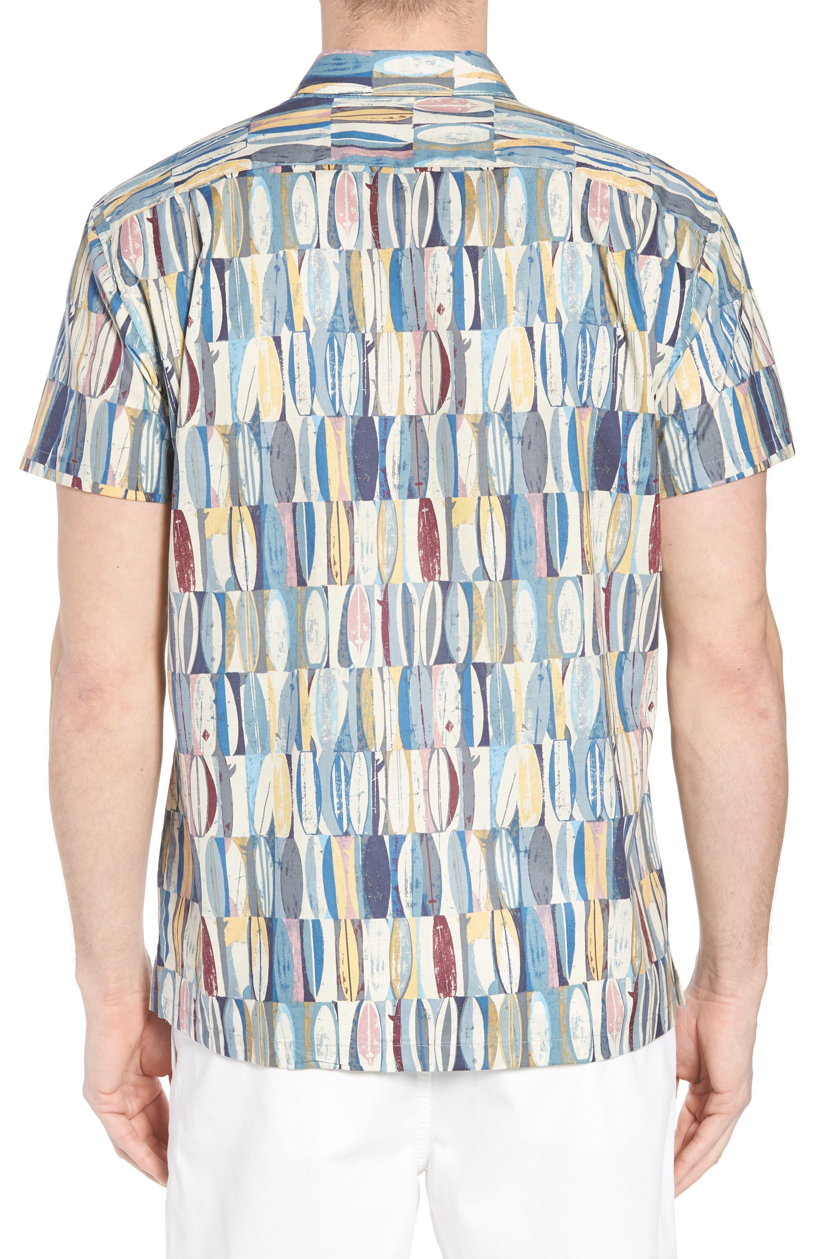Board Room Trim Fit Camp Shirt,                             Alternate thumbnail 3, color,                             Ocean Blue