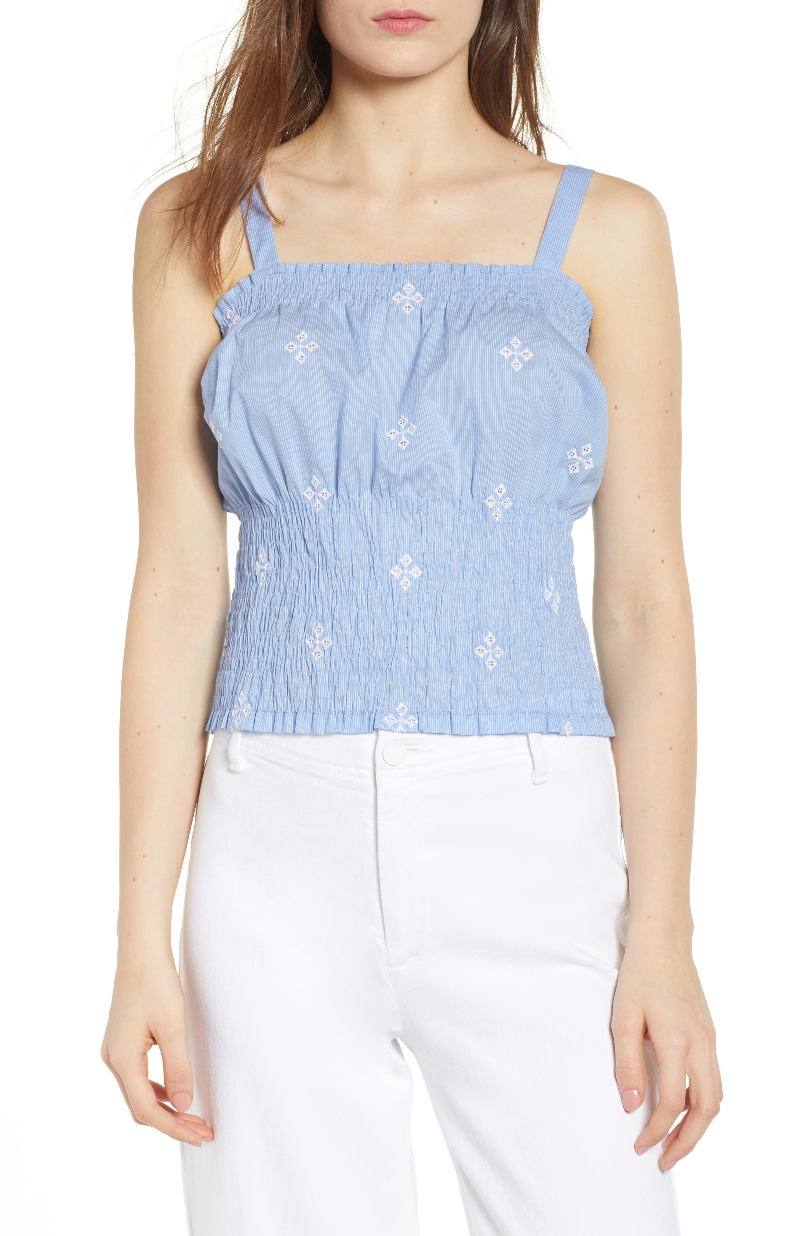 Smocked Pinstripe Top,                         Main,                         color, Blue- White Fizzle Stripe