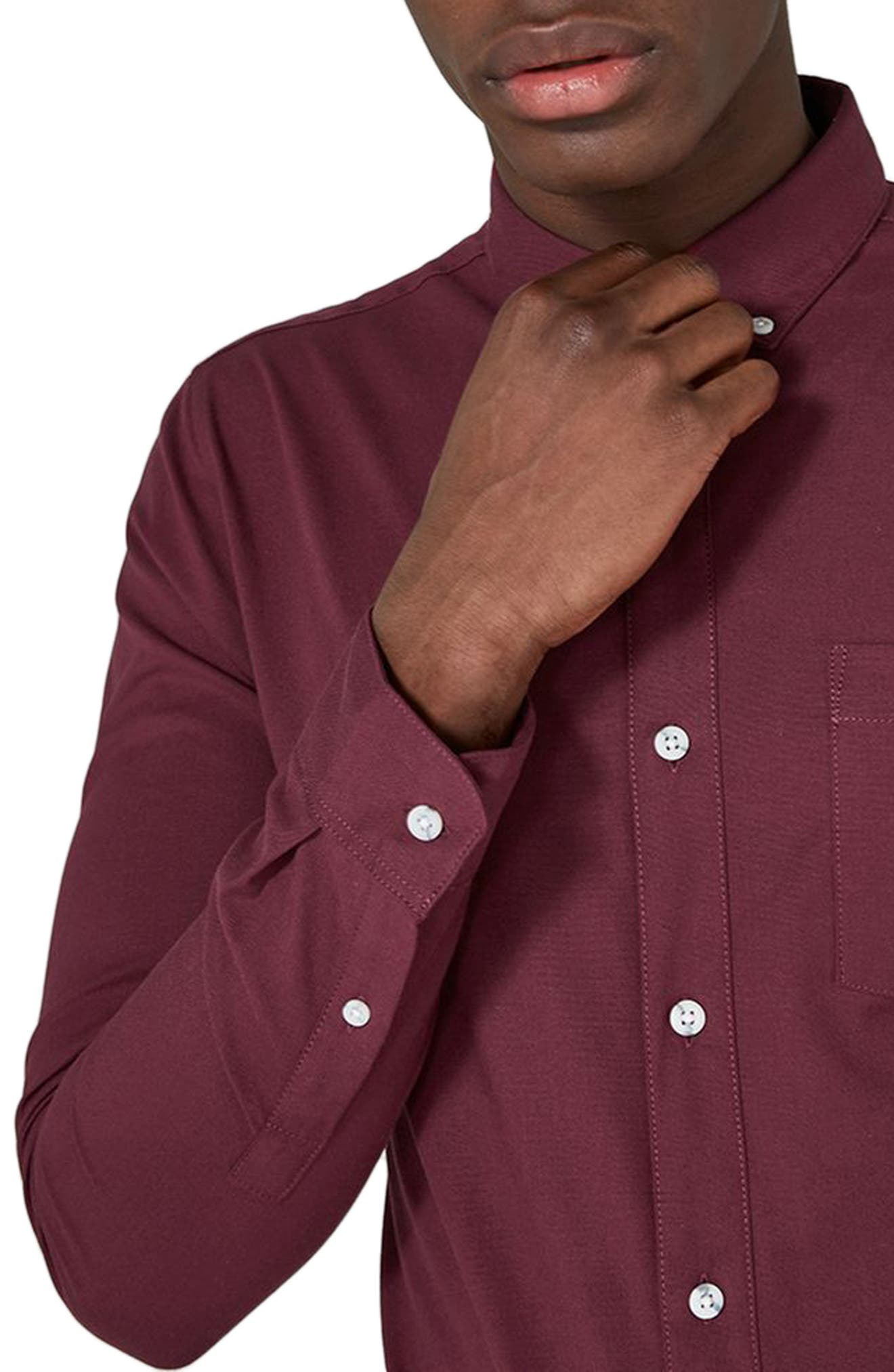 Muscle Fit Oxford Shirt,                             Alternate thumbnail 3, color,                             Burgundy