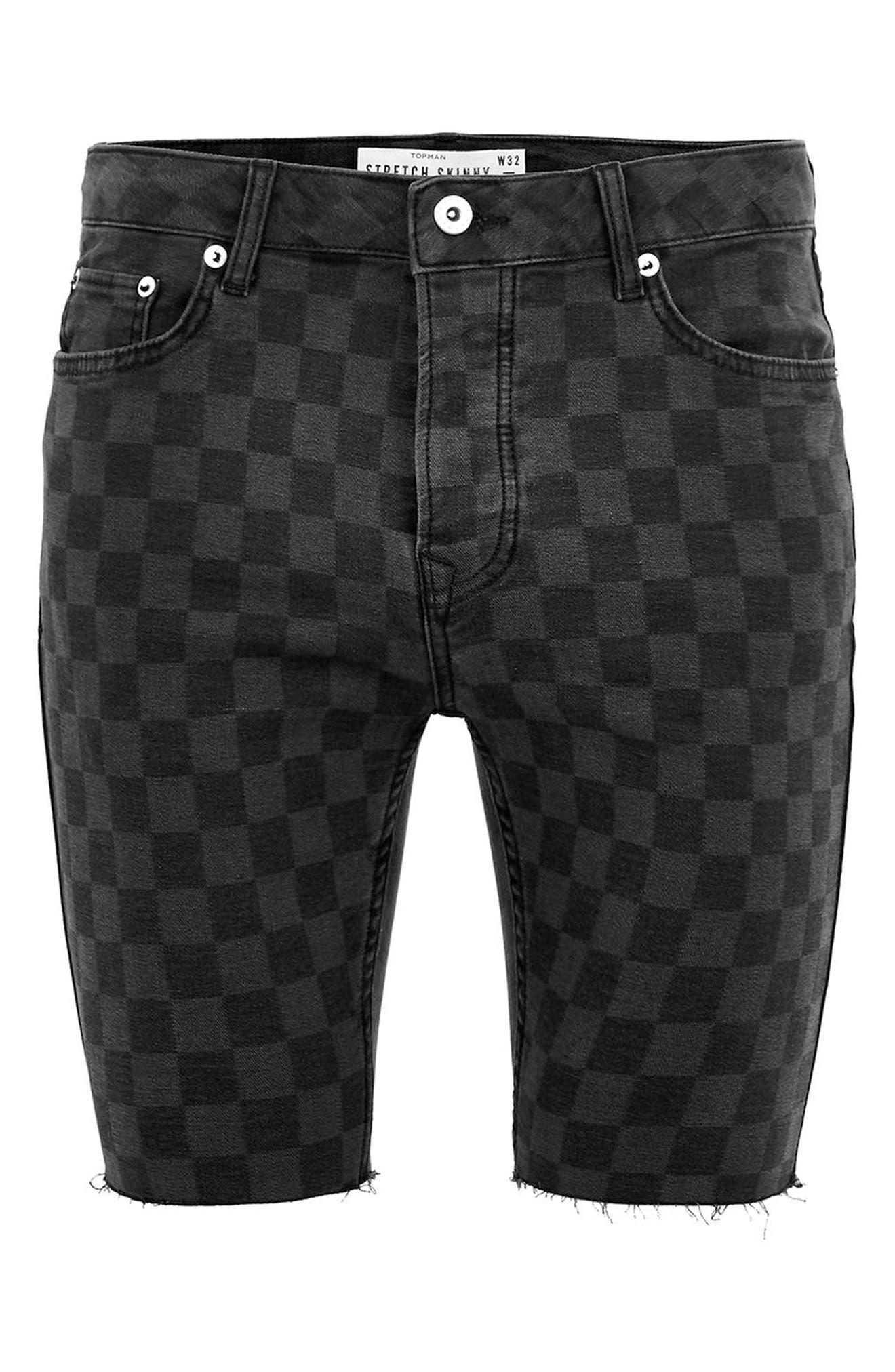 Stretch Skinny Fit Check Denim Shorts,                             Alternate thumbnail 4, color,                             Black