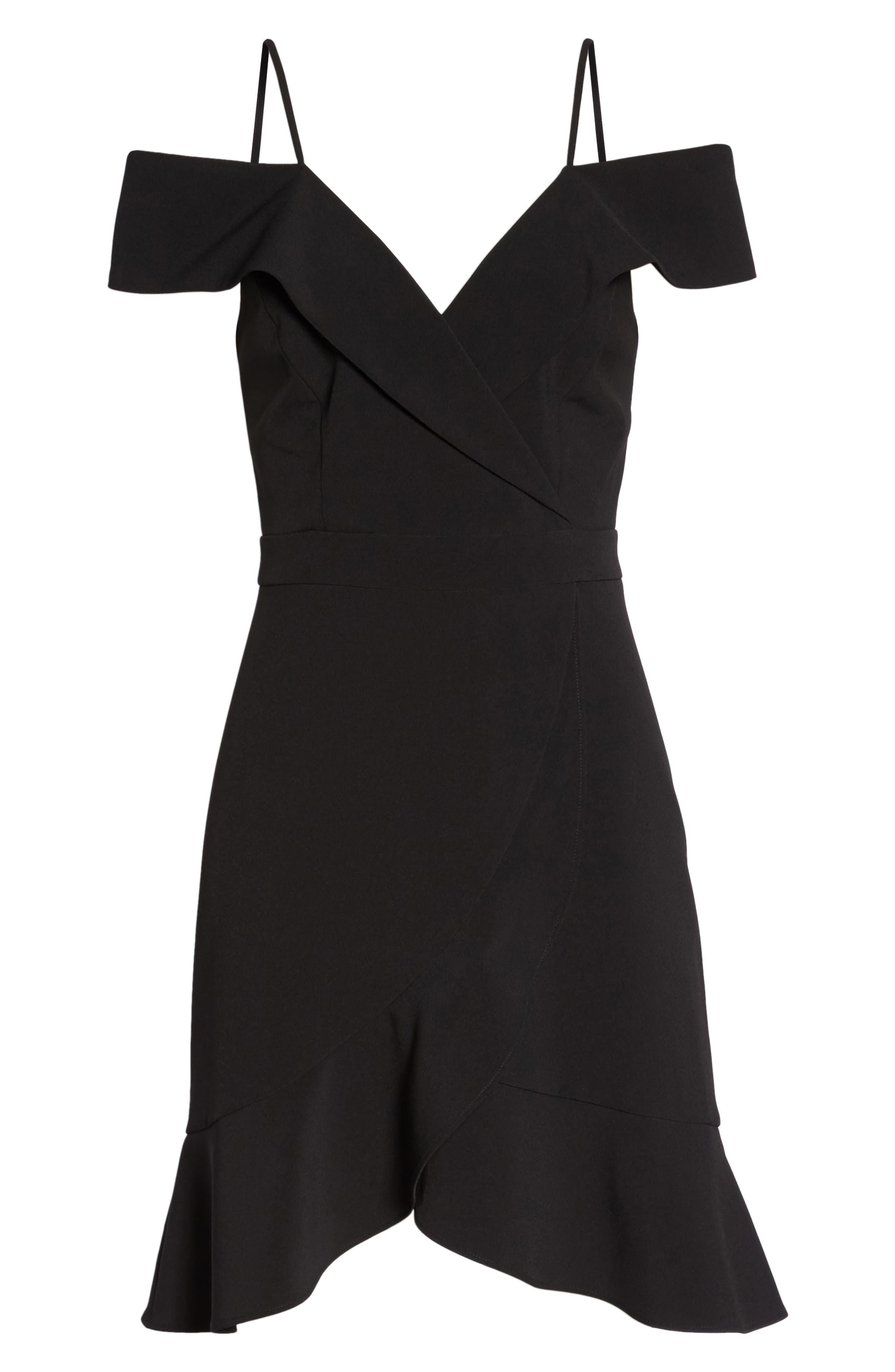 Cold Shoulder Ruffle Sheath Dress,                             Alternate thumbnail 7, color,                             Black