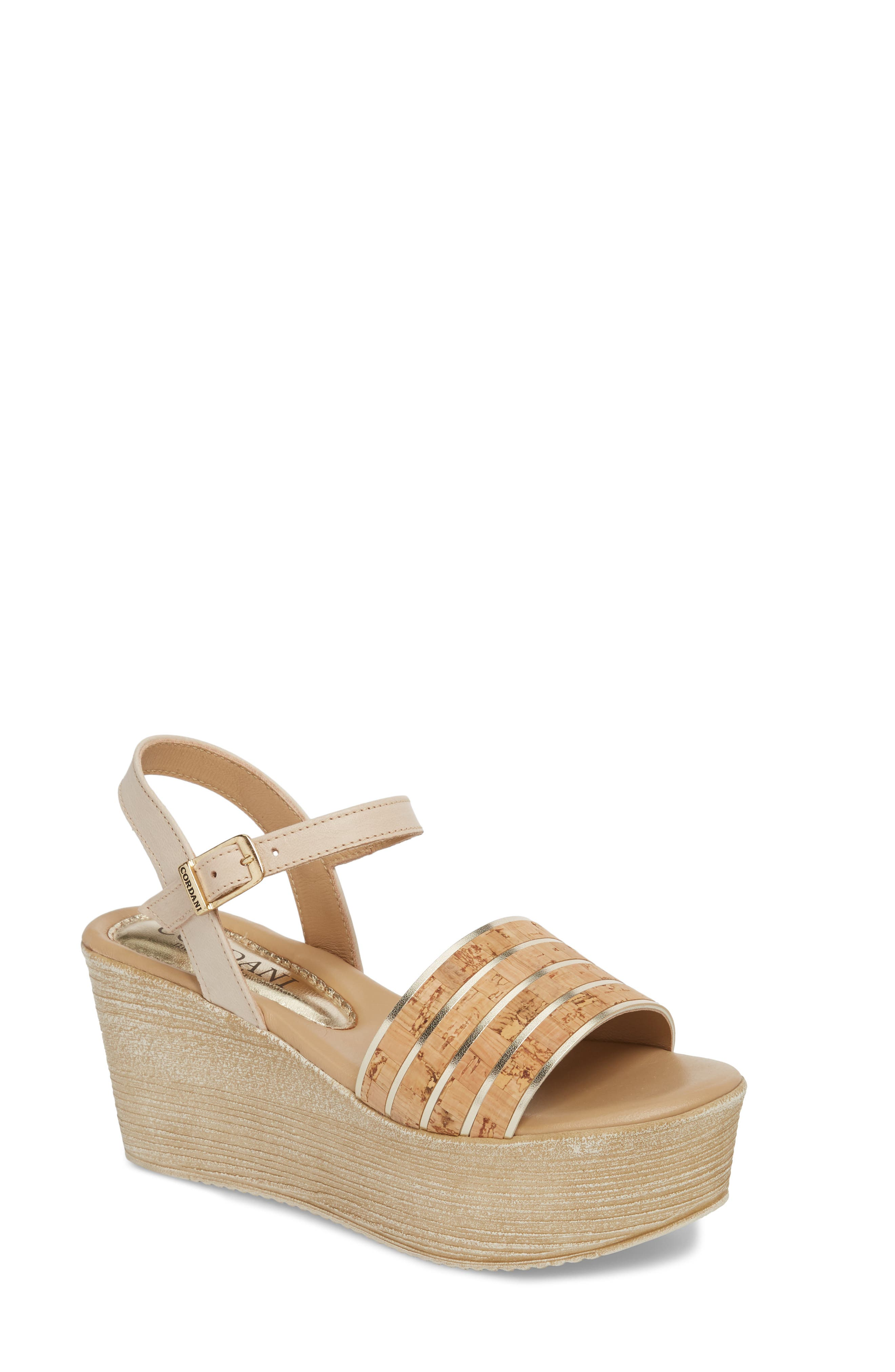 Jaida Platform Wedge Sandal,                             Main thumbnail 1, color,                             Cork/ Gold