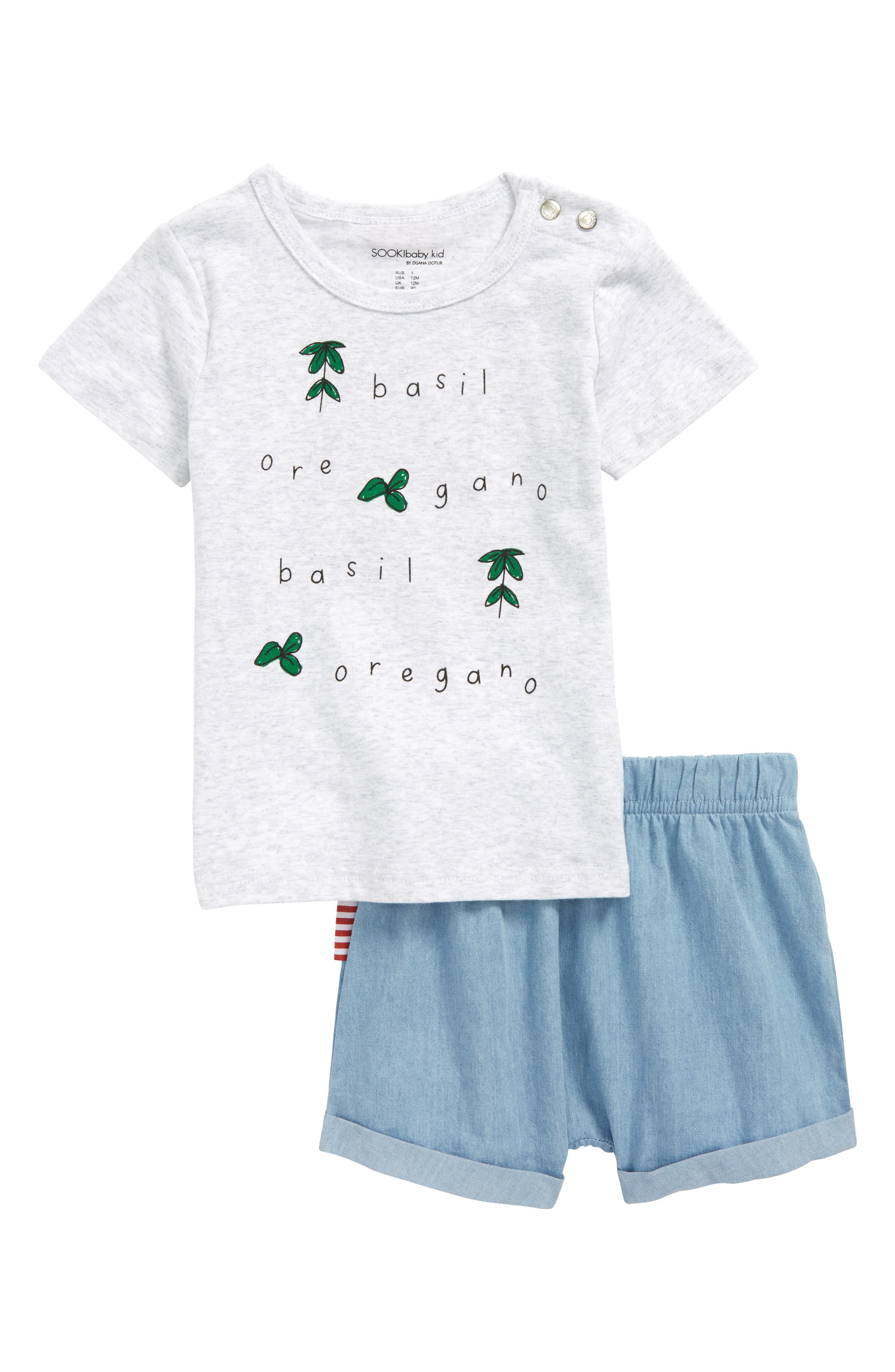 Basil T-Shirt & Chambray Shorts Set,                         Main,                         color, White/ Chambray