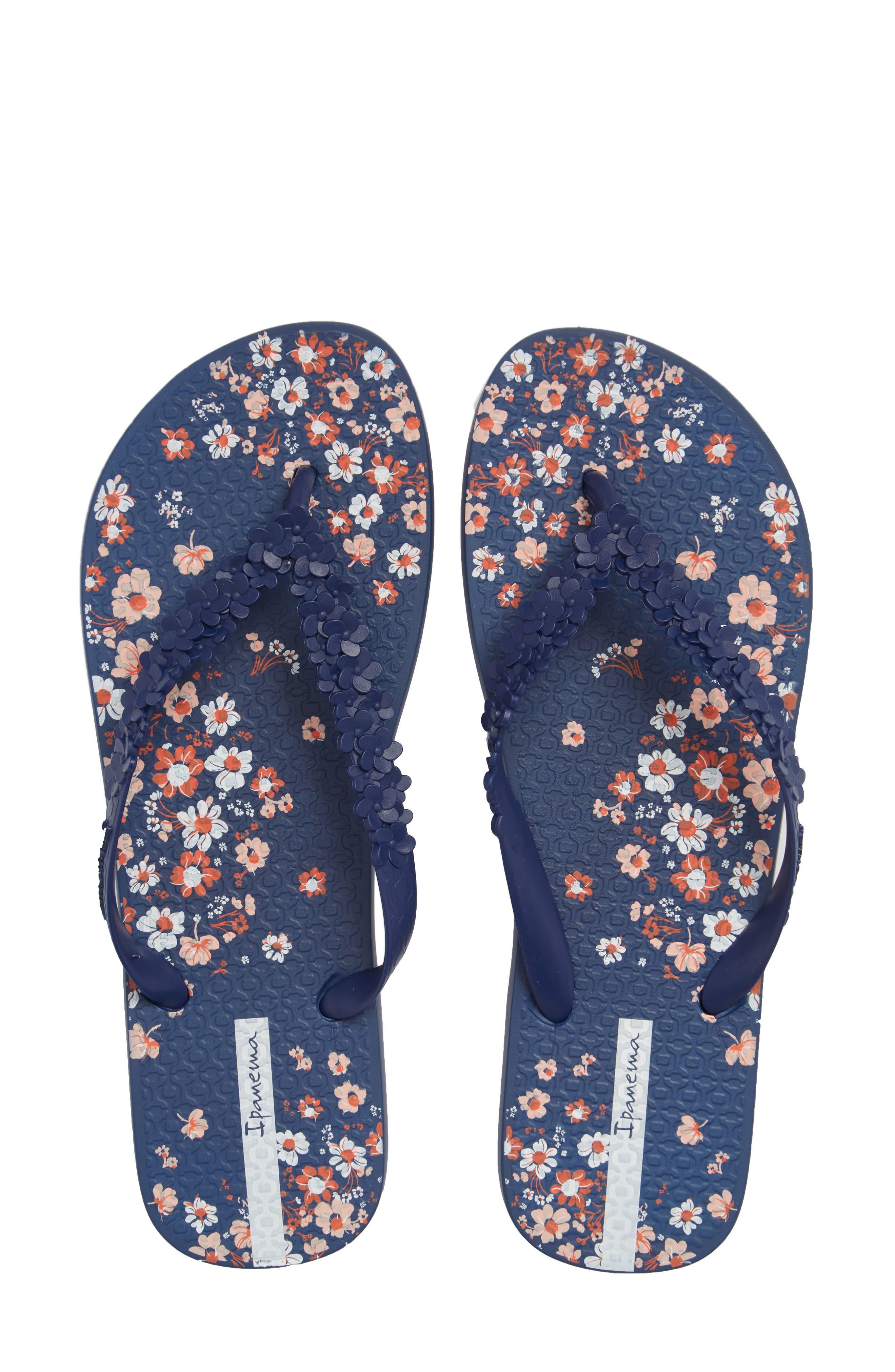 Flora Flip Flop,                             Main thumbnail 1, color,                             Blue