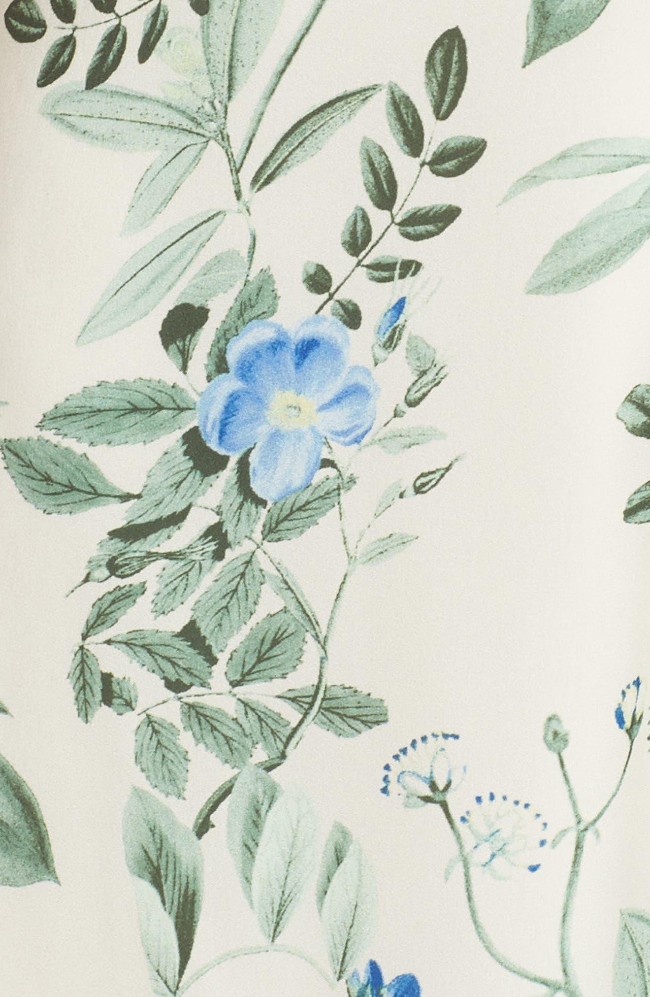 Lauren Botanical Garden Print Midi Dress,                             Alternate thumbnail 7, color,                             Bone/ Blue