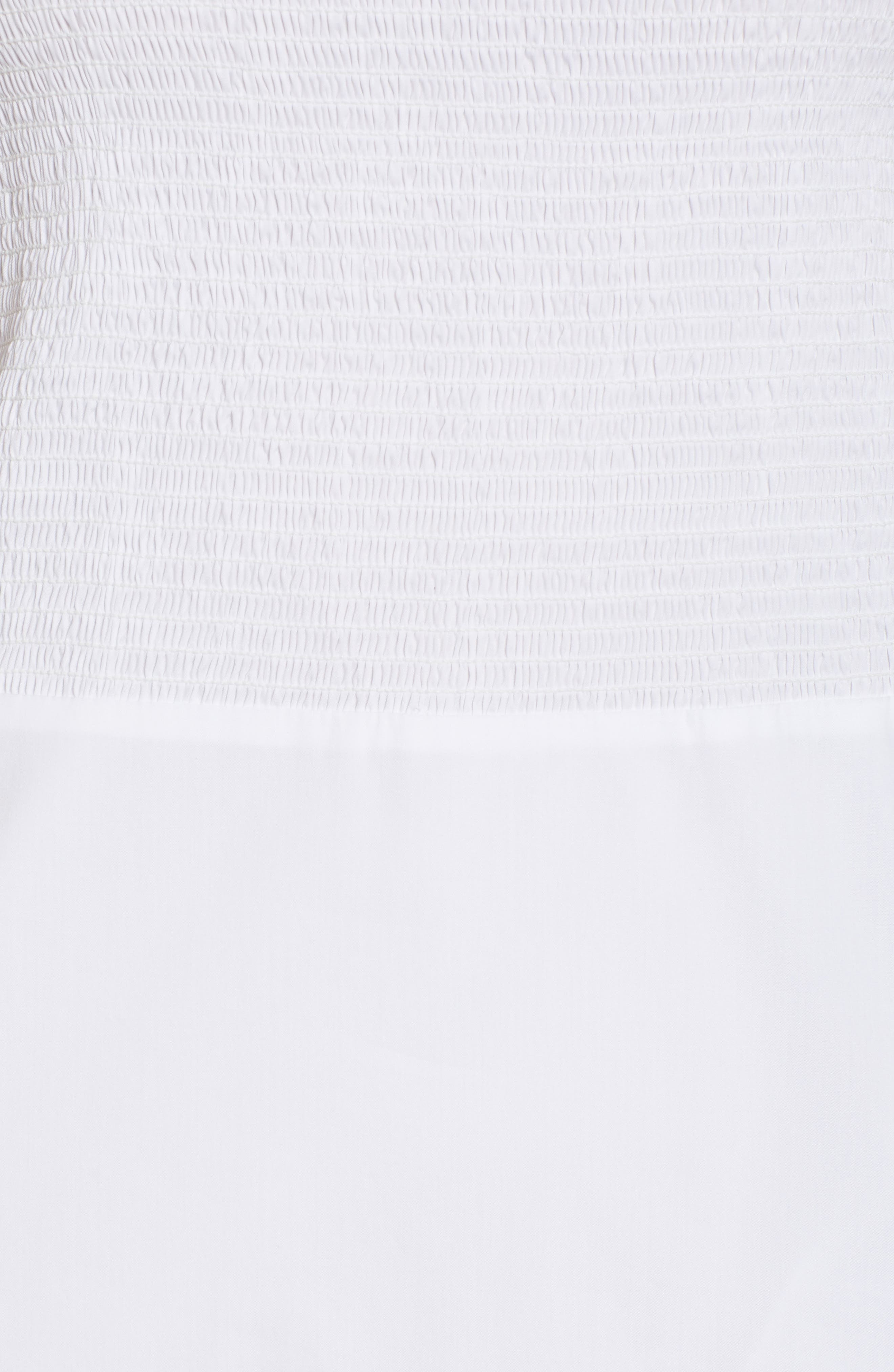 Ruffle Smocked Cold Shoulder Dress,                             Alternate thumbnail 5, color,                             White