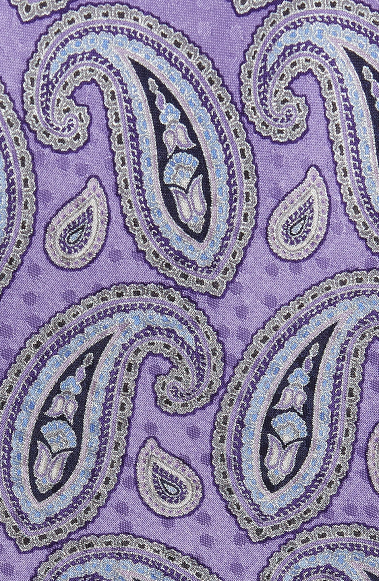 Paisley Silk Tie,                             Alternate thumbnail 2, color,                             Purple