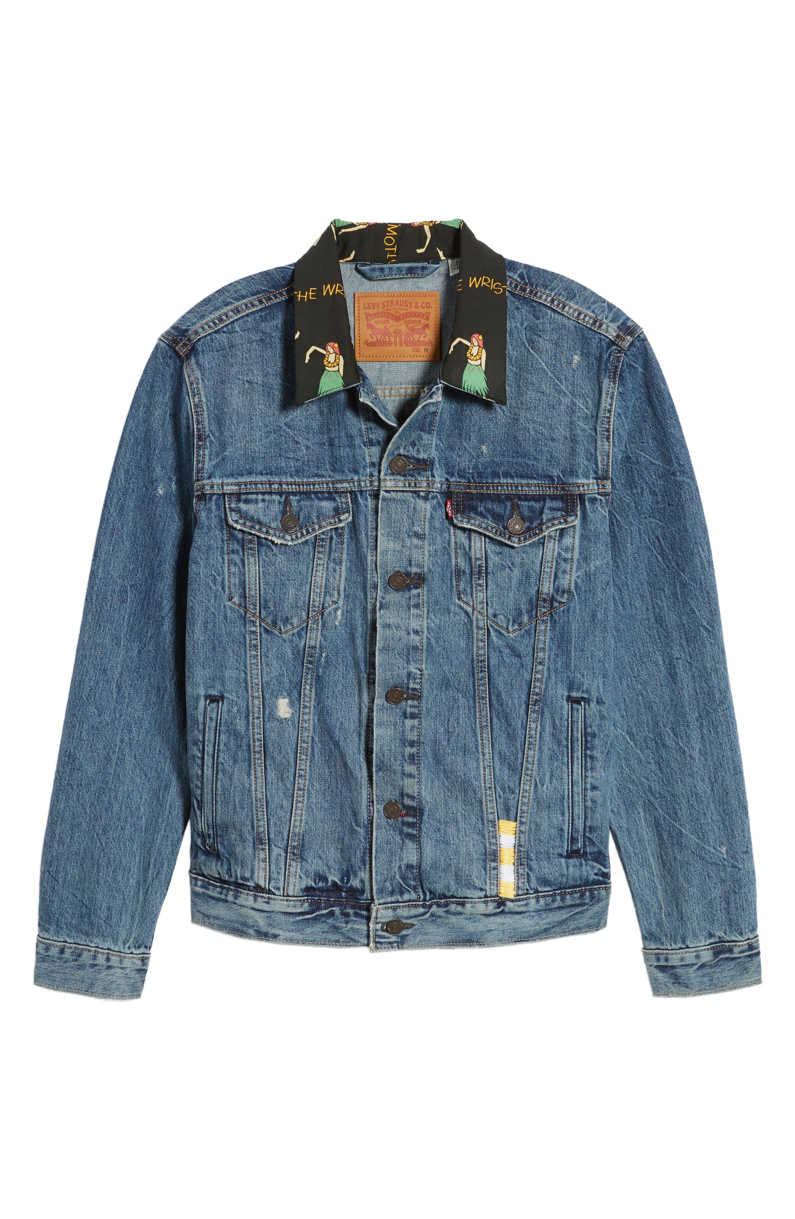 Denim Trucker Jacket,                             Alternate thumbnail 6, color,                             Hula Collar