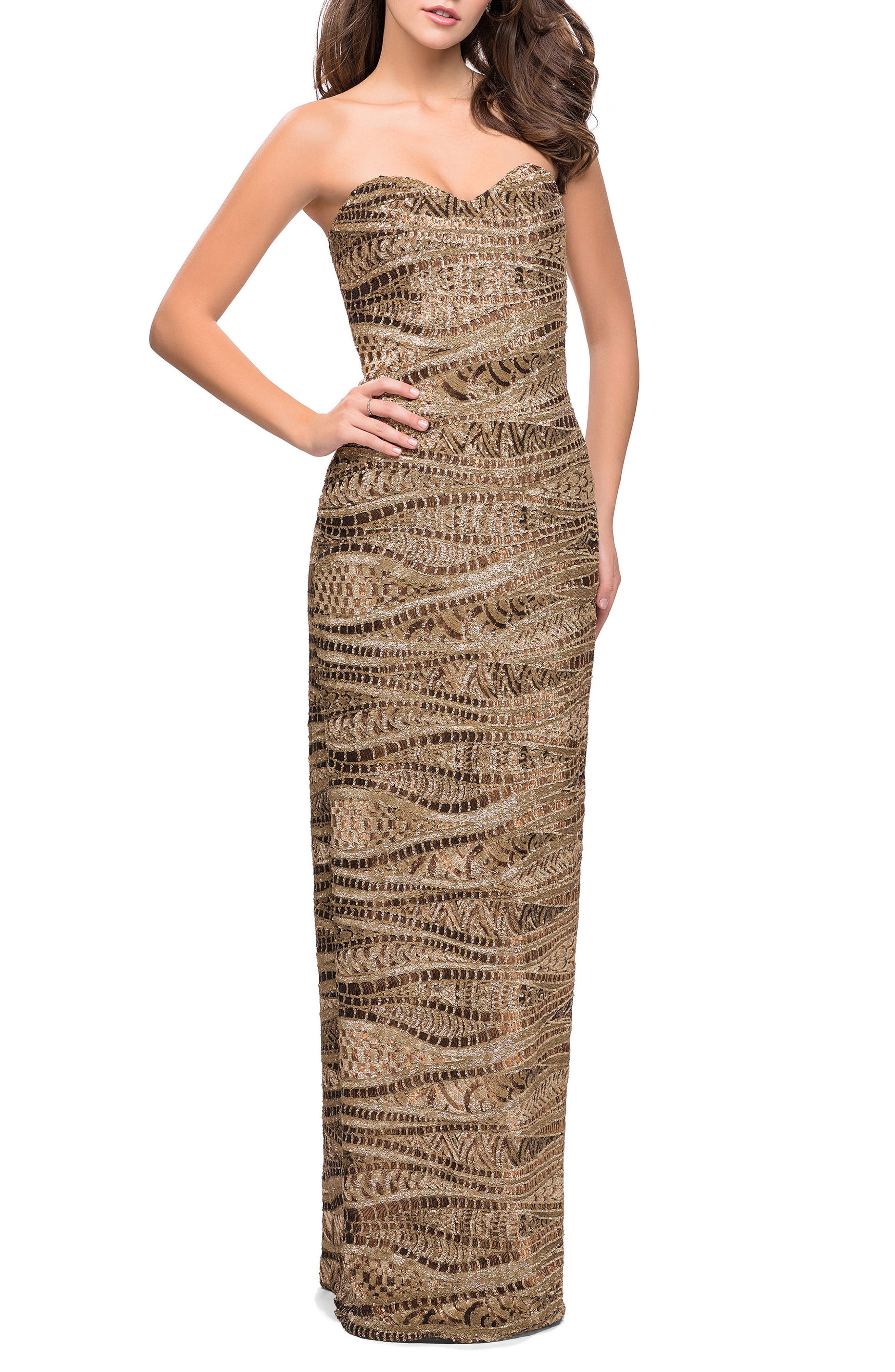 Sequin Strapless Column Gown,                             Main thumbnail 1, color,                             Gold/ Bronze