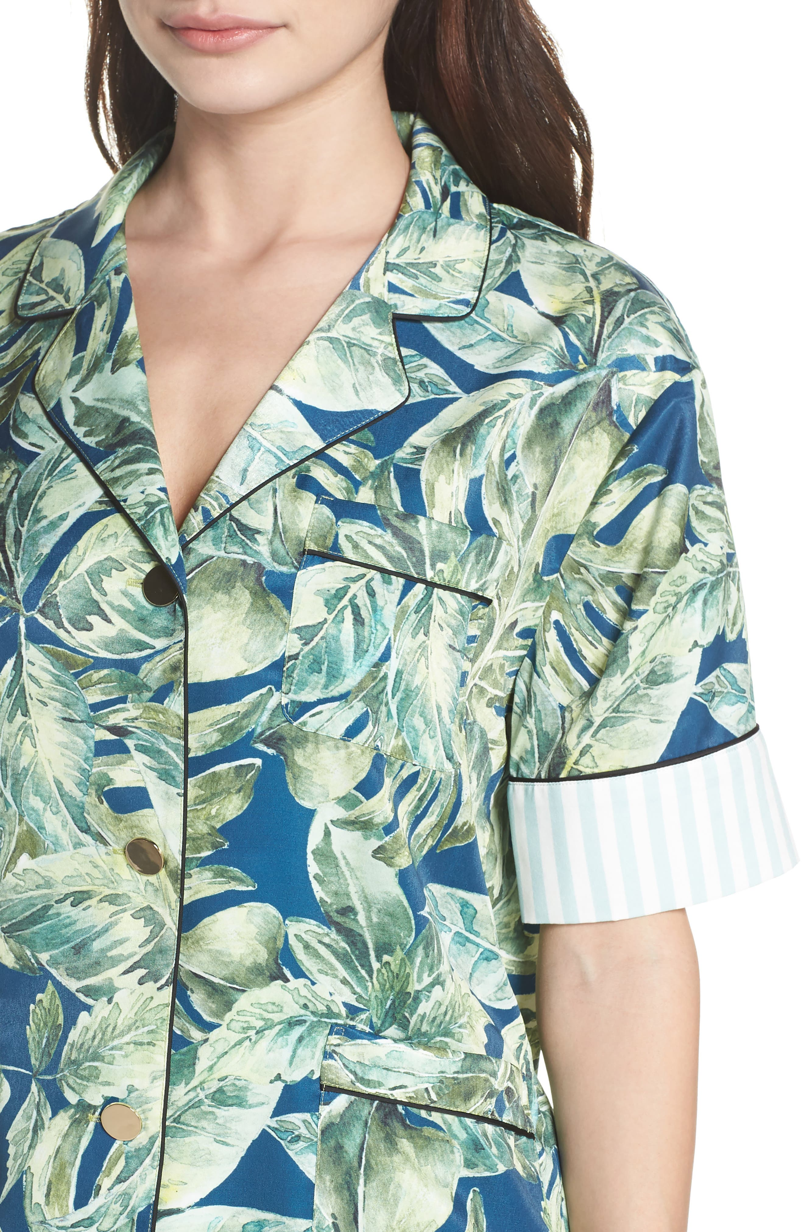 Cropped Pajamas,                             Alternate thumbnail 4, color,                             Pacific Palm