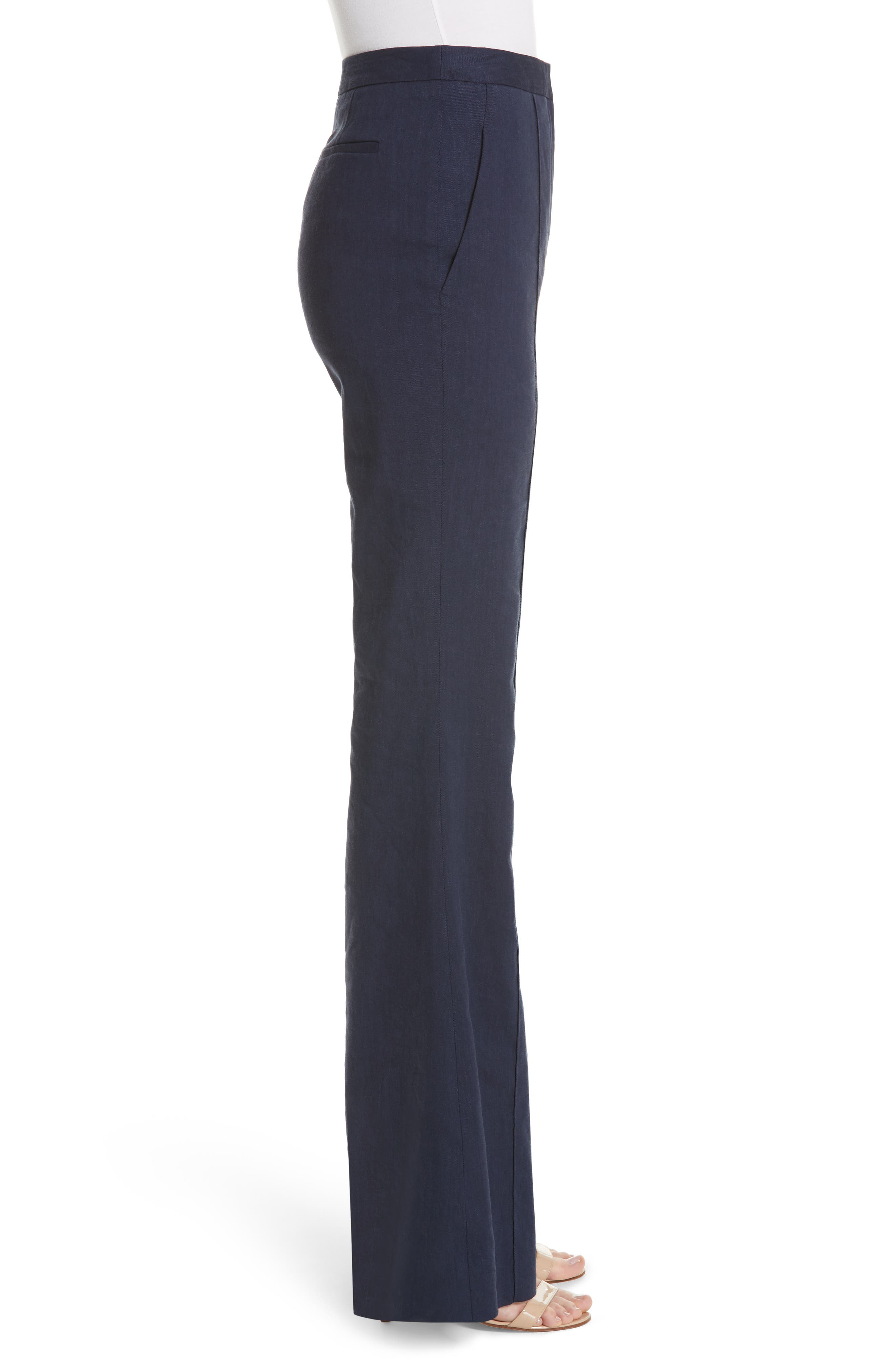Diane von Furstenberg Pleat Front Flare Stretch Linen Blend Pants,                             Alternate thumbnail 3, color,                             New Navy