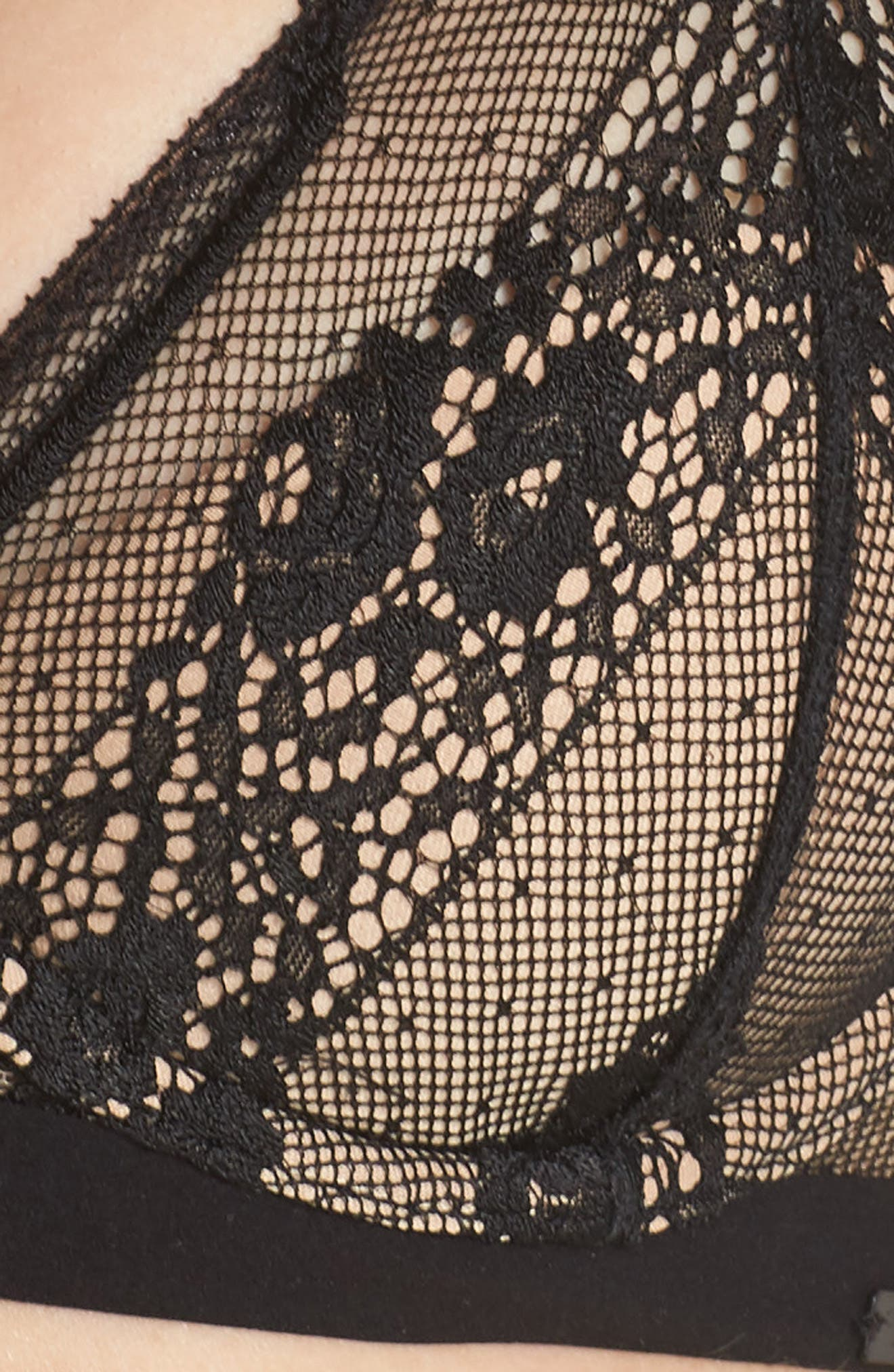 Lace Triangle Bralette,                             Alternate thumbnail 10, color,                             Black