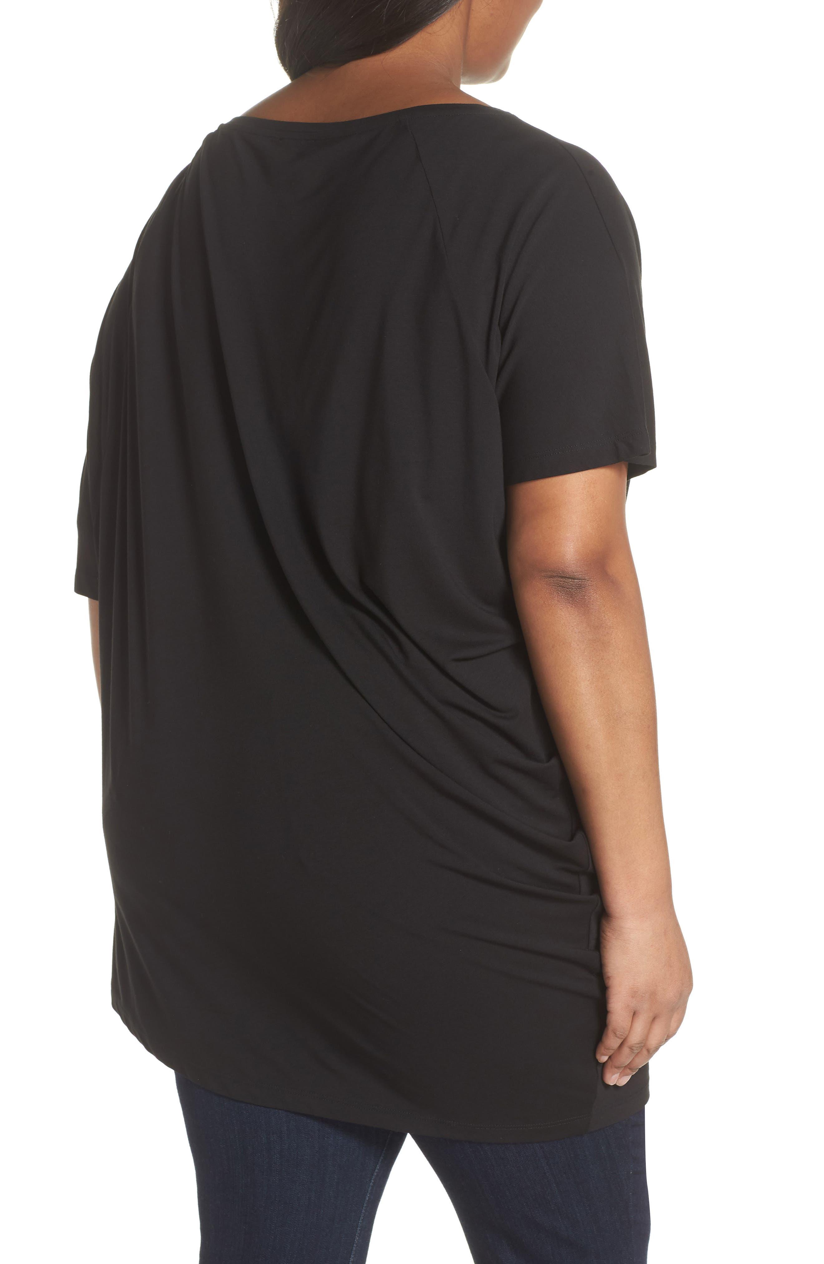 Asymmetrical Tunic Top,                             Alternate thumbnail 2, color,                             Black