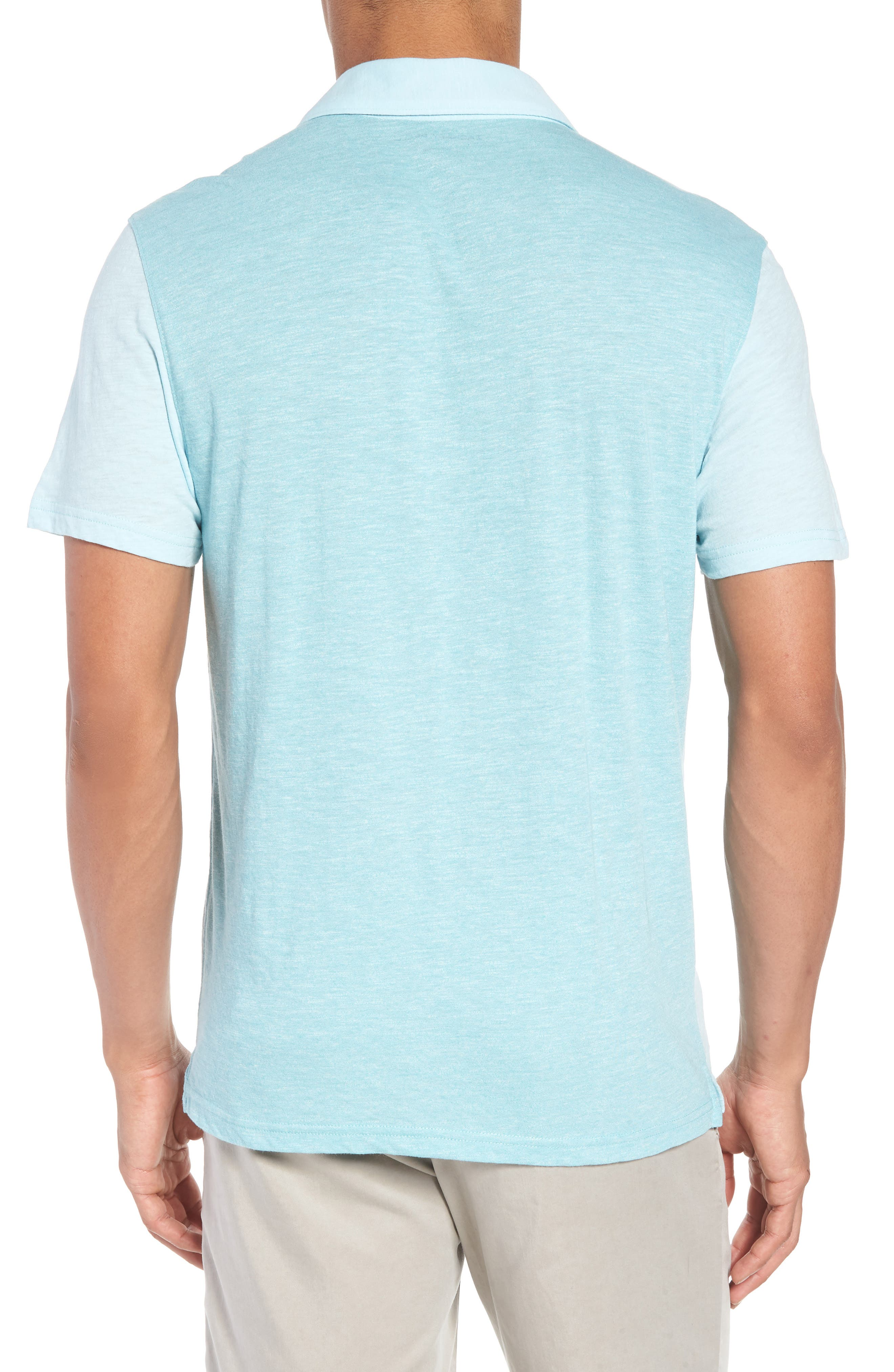 Clover Johnny Collar Polo,                             Alternate thumbnail 2, color,                             Light Turquoise