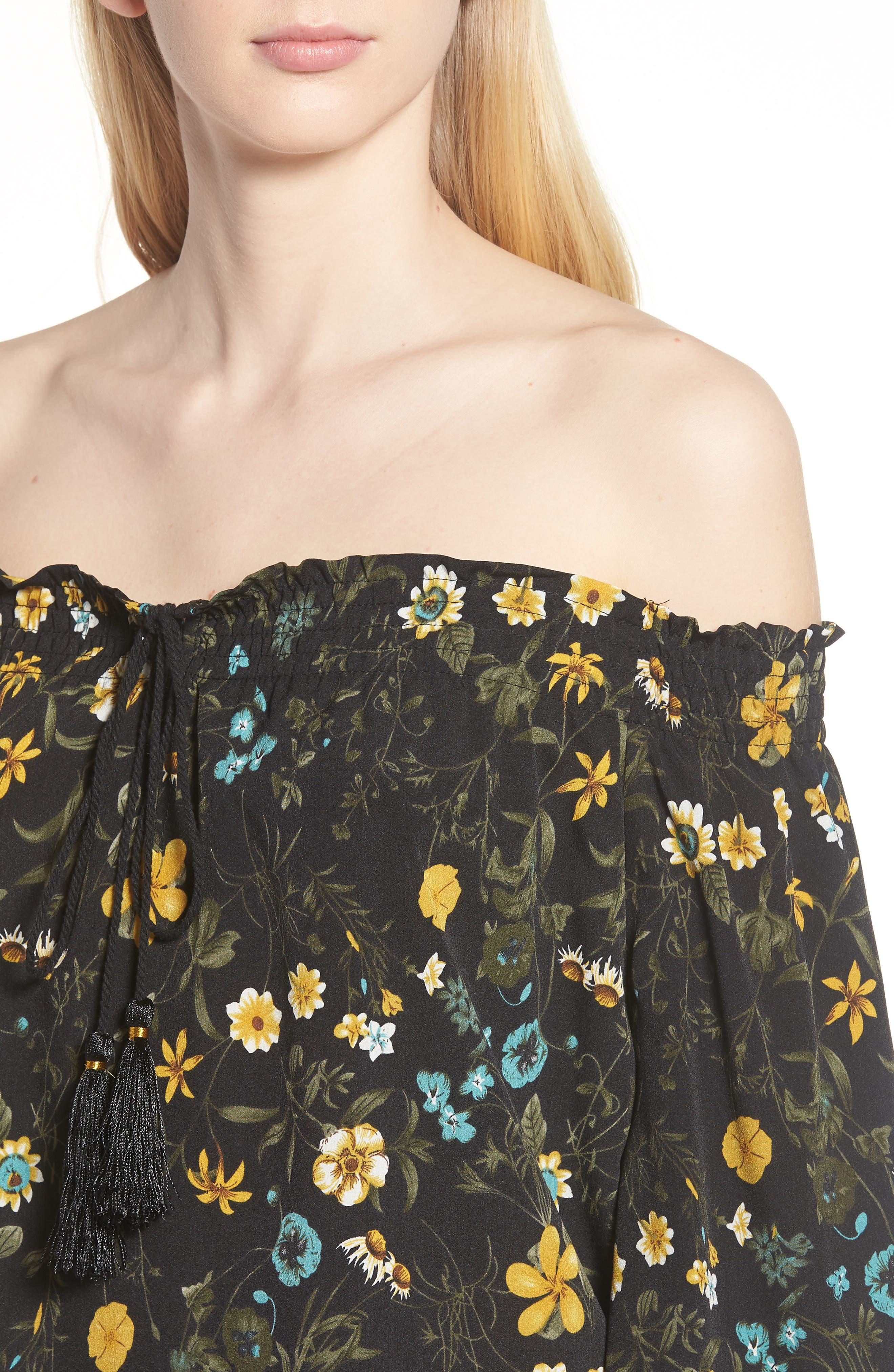 Off the Shoulder Tassel Top,                             Alternate thumbnail 4, color,                             Black Floral