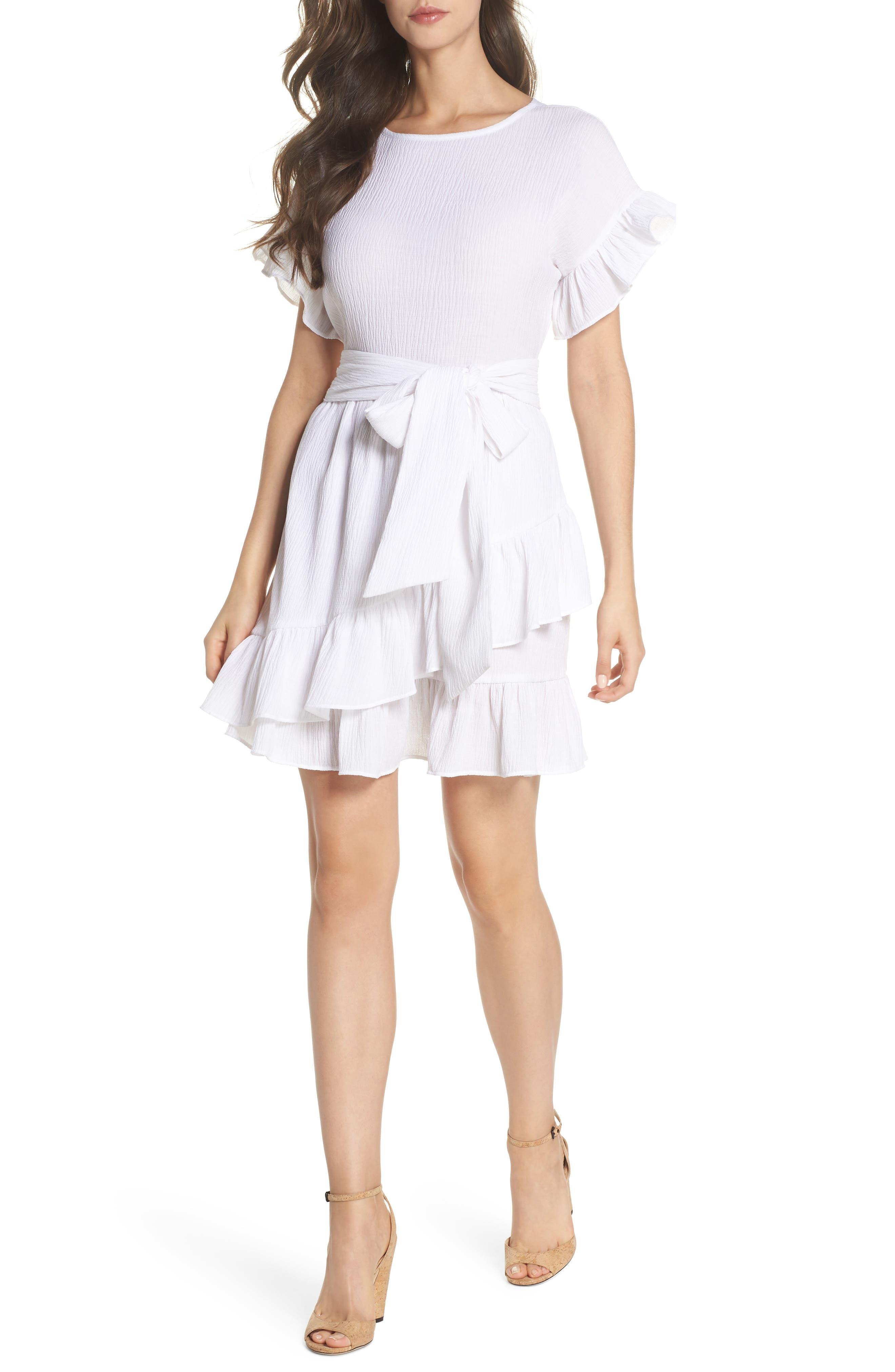 Ruffle Dress,                         Main,                         color, White
